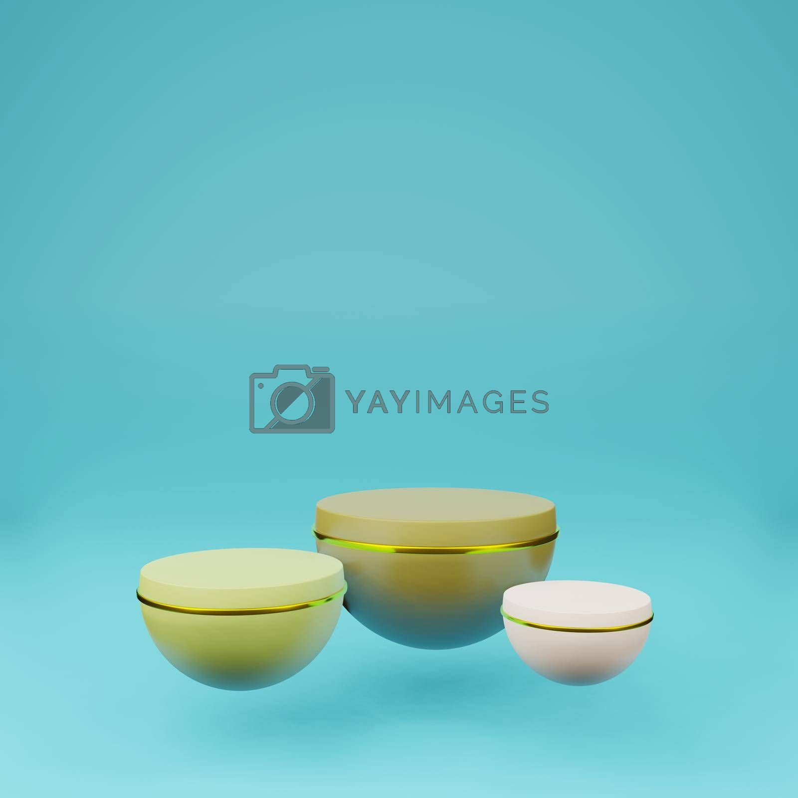Royalty free image of Green planet podium with summer tone on blue background by eaglesky