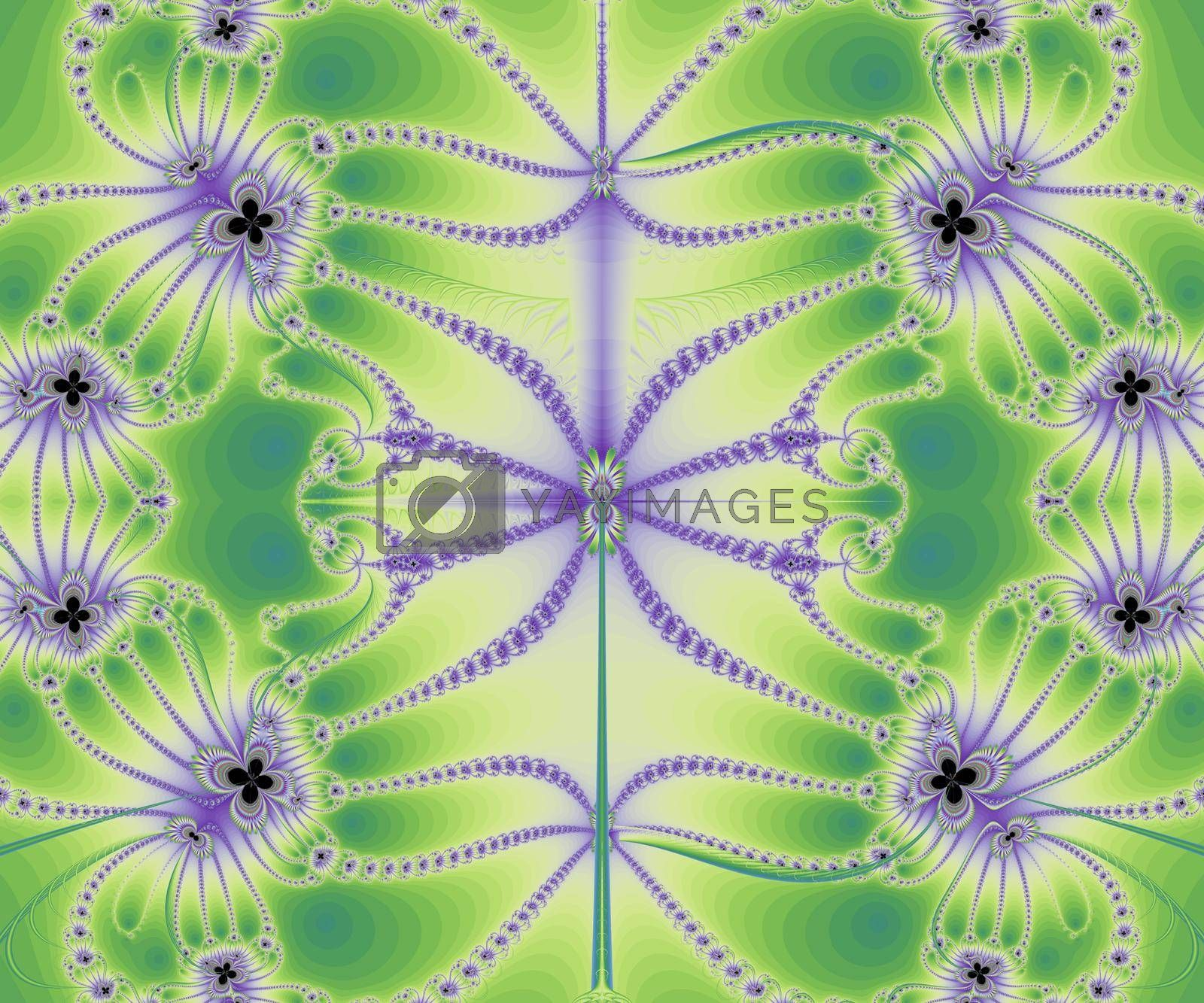 Fractal image on a light background colored lines, intricately woven in a beautiful pattern .