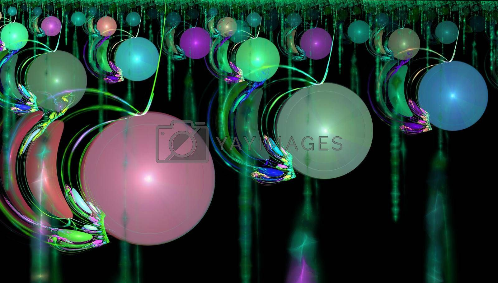 Fractal image of fantastic bizarre balls of different colors and sizes.