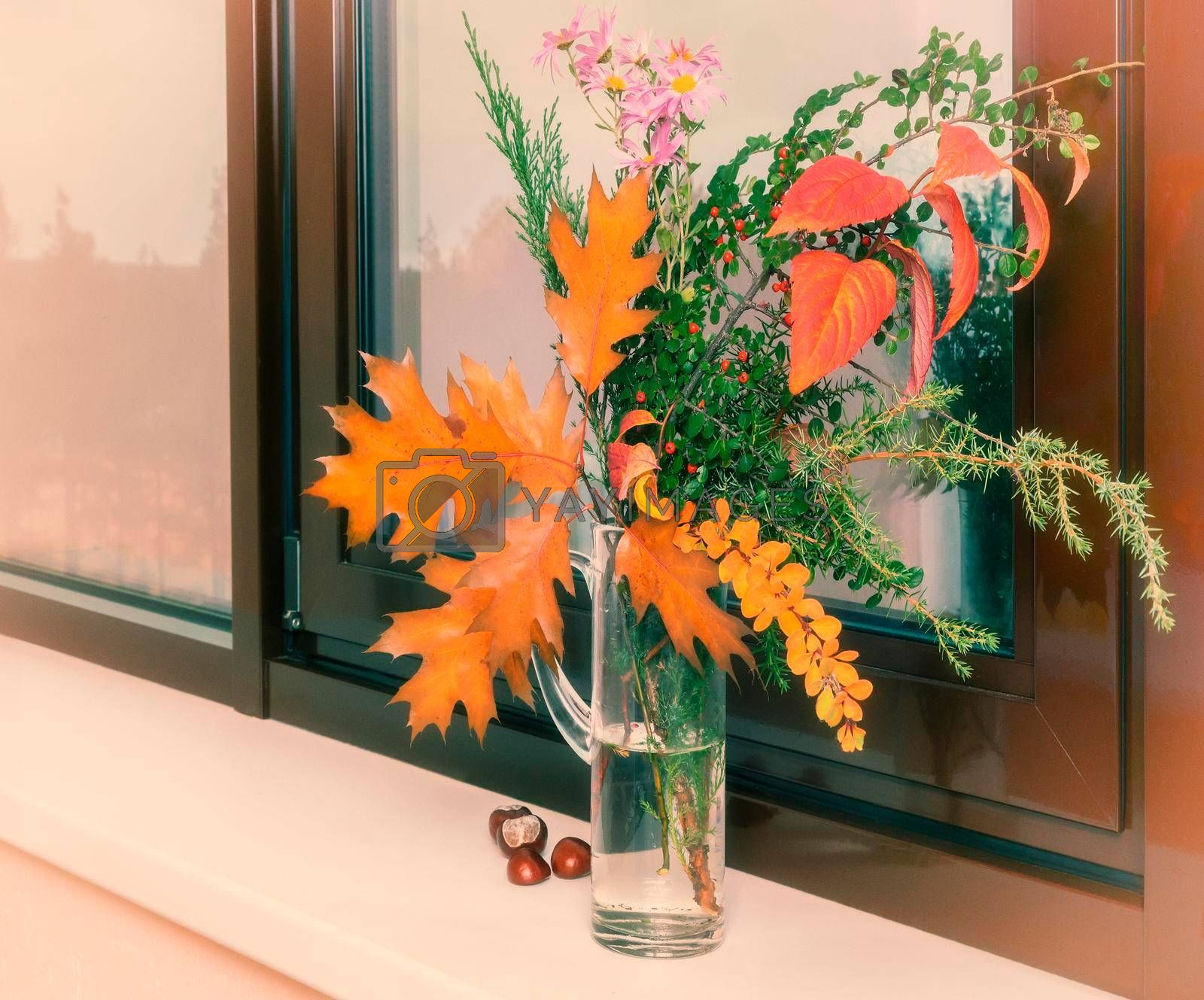 On the window sill in a glass decanter beautiful autumn bouquet of flowers and bright autumn leaves.