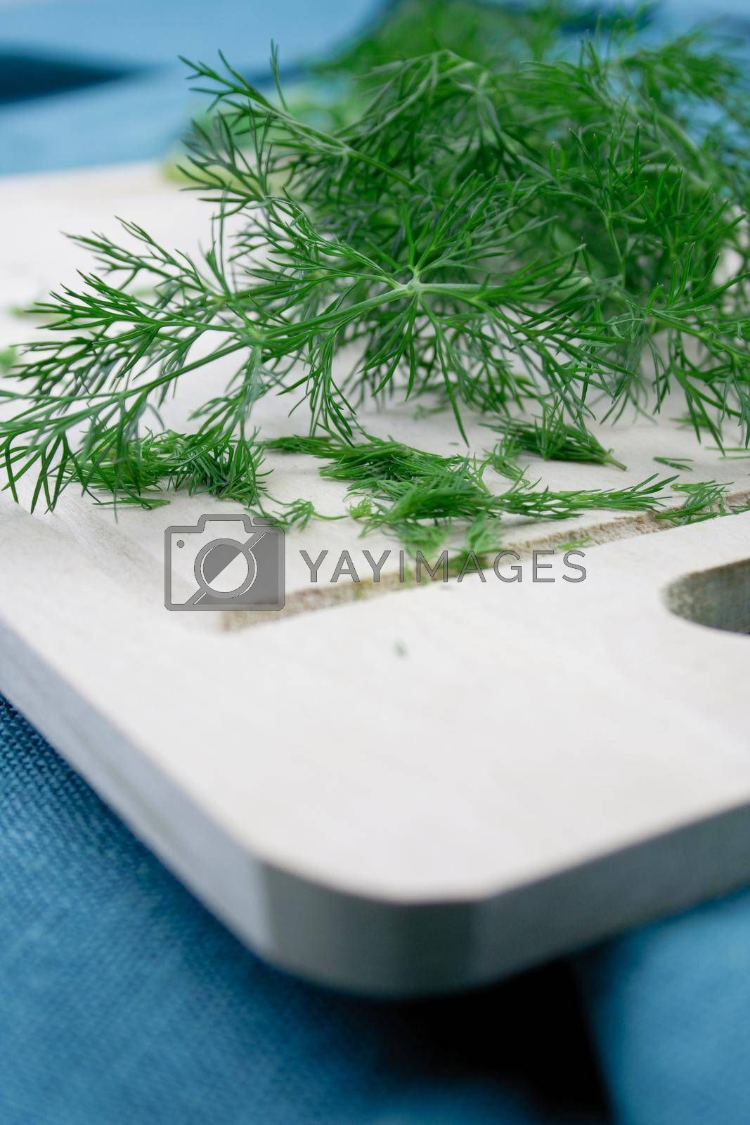 Close up of dill on desk