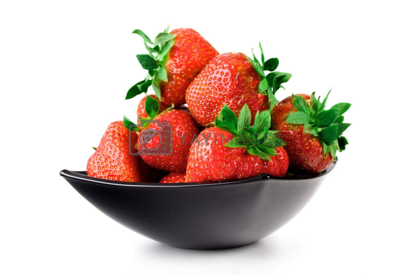 Close  up of Strawberryies in black bowl