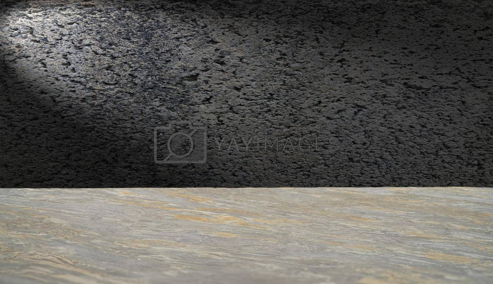 The marble and cement background have white lights.