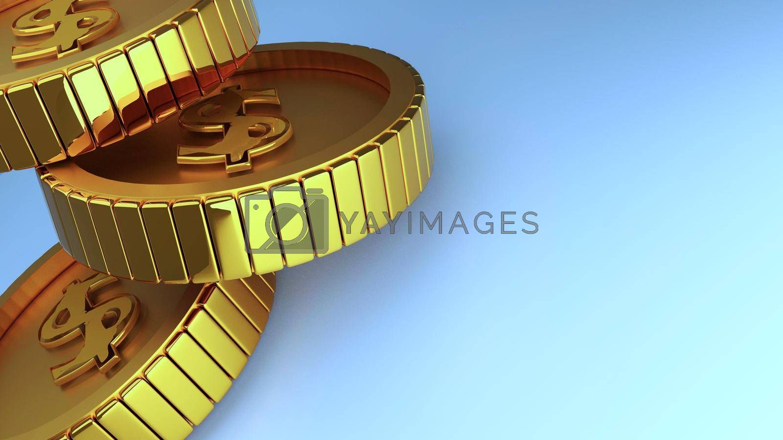 Coin gold money dollar isolated white background 3d rendering.