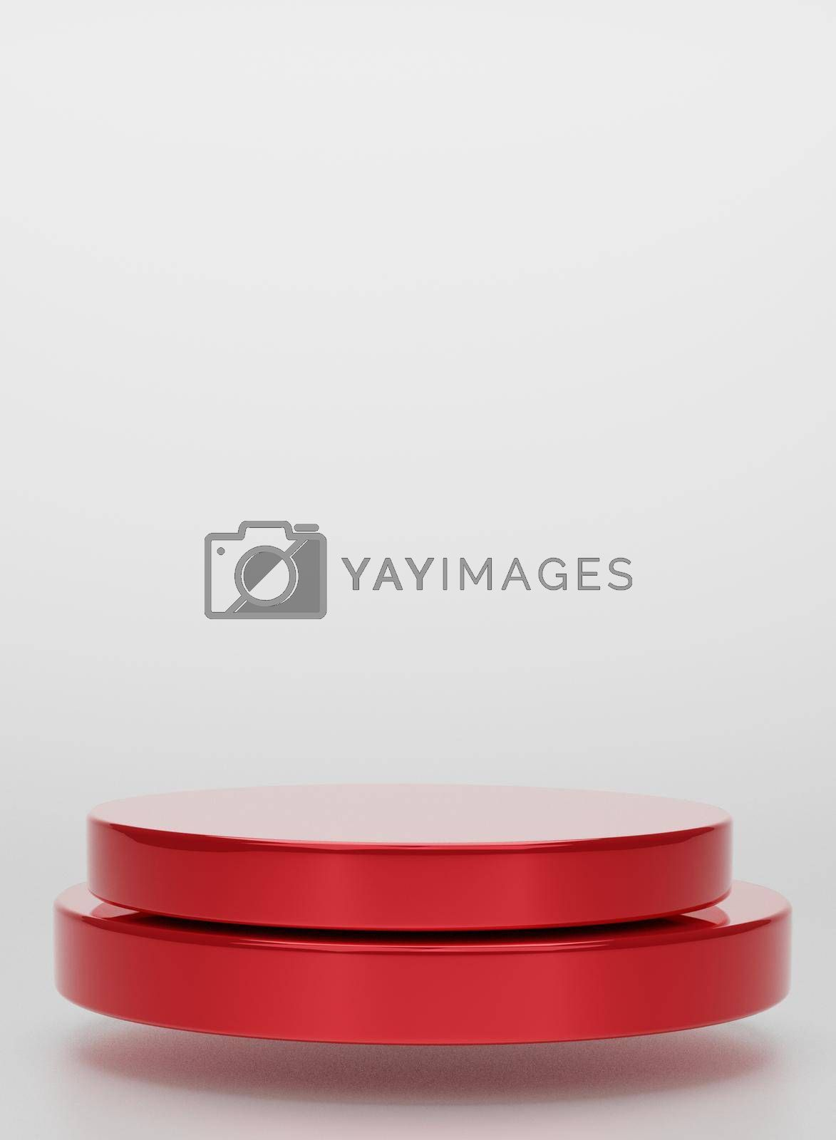 Red geometric circular background vertical image display podium prototype simple podium and commercial product concept white background 3d rendering.