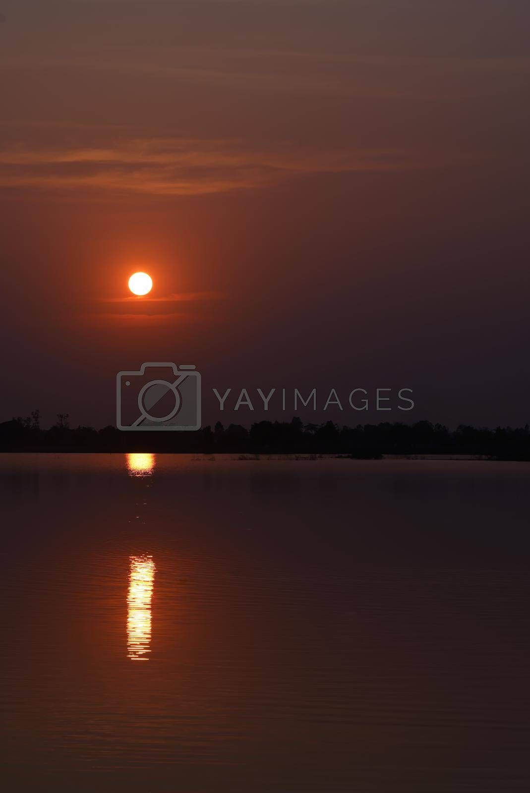 Vertical picture of the lakeside landscape with orange sky and beautiful sunset.