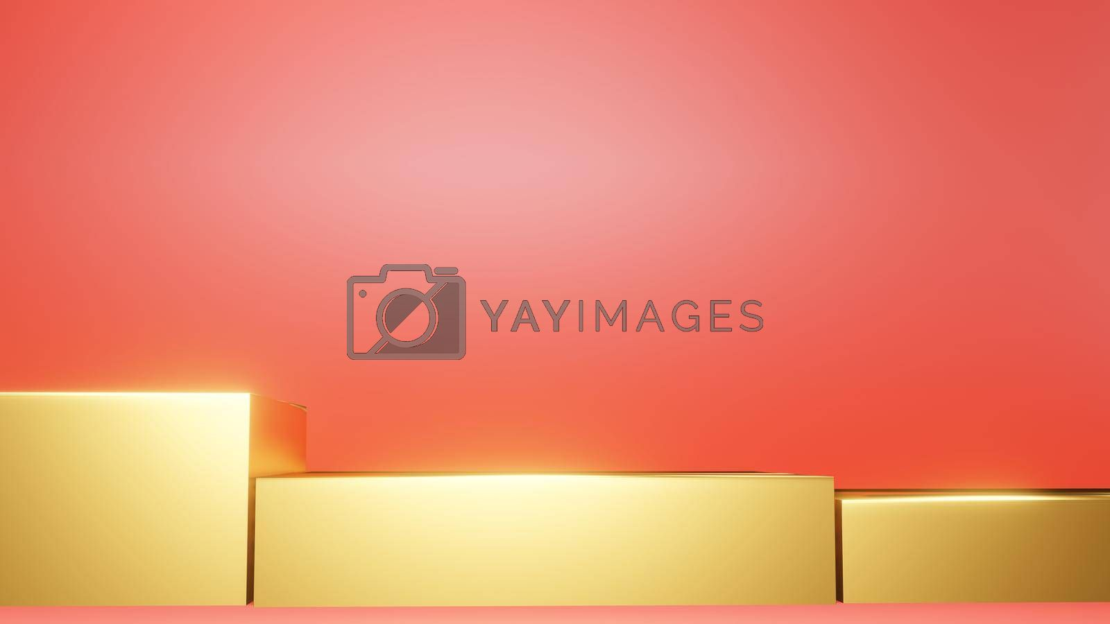 Stage Background Yellow Square Red Background 3d rendering.
