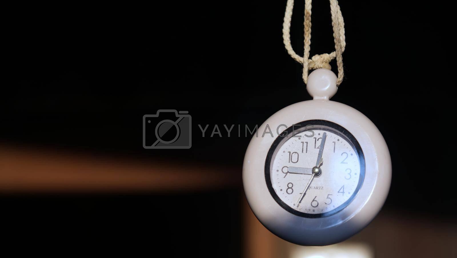 Vintage wall clock black white hanging telling time