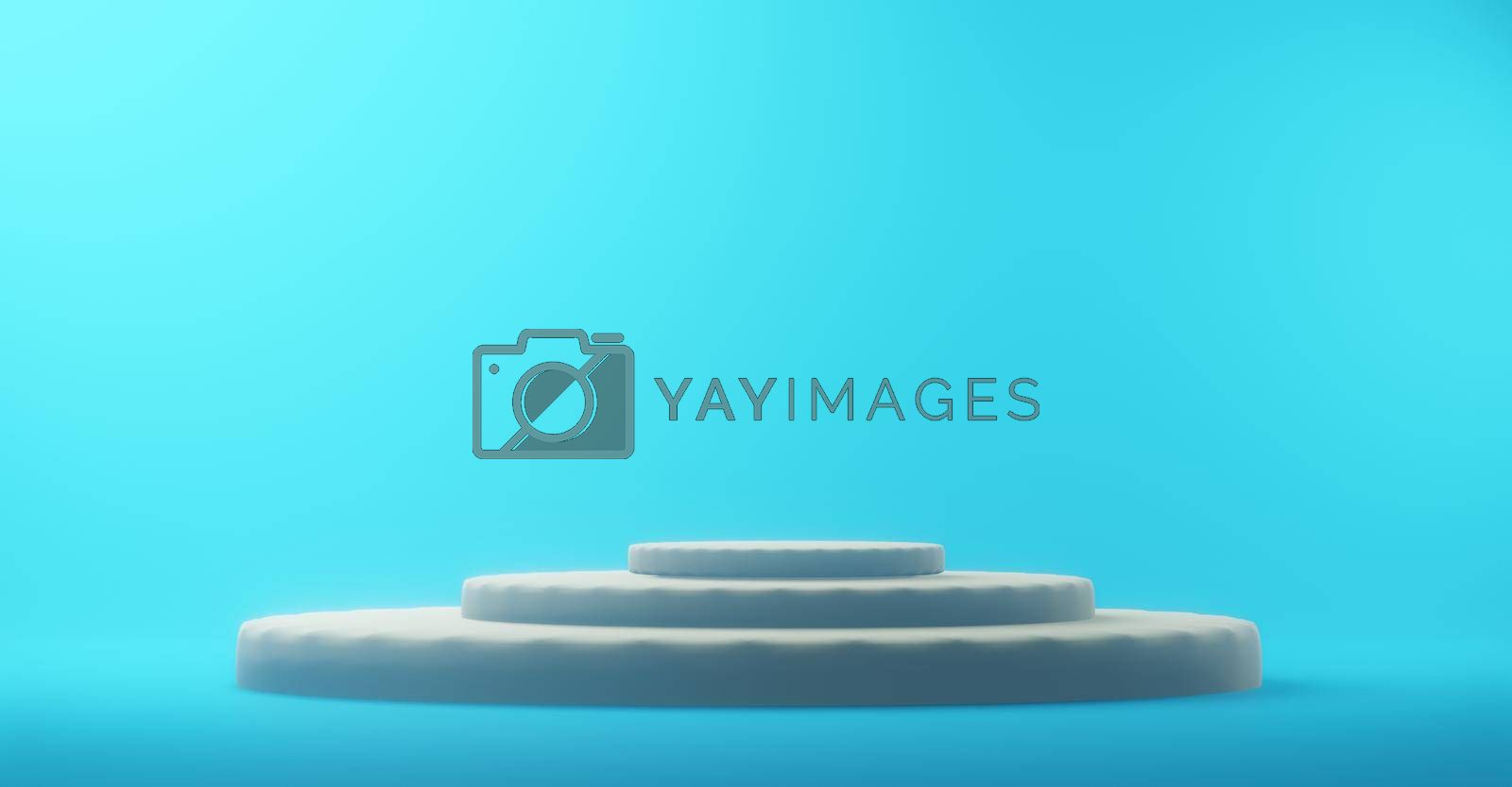Abstract geometric background Simple podium mockup of yellow scene Blue background 3d rendering.