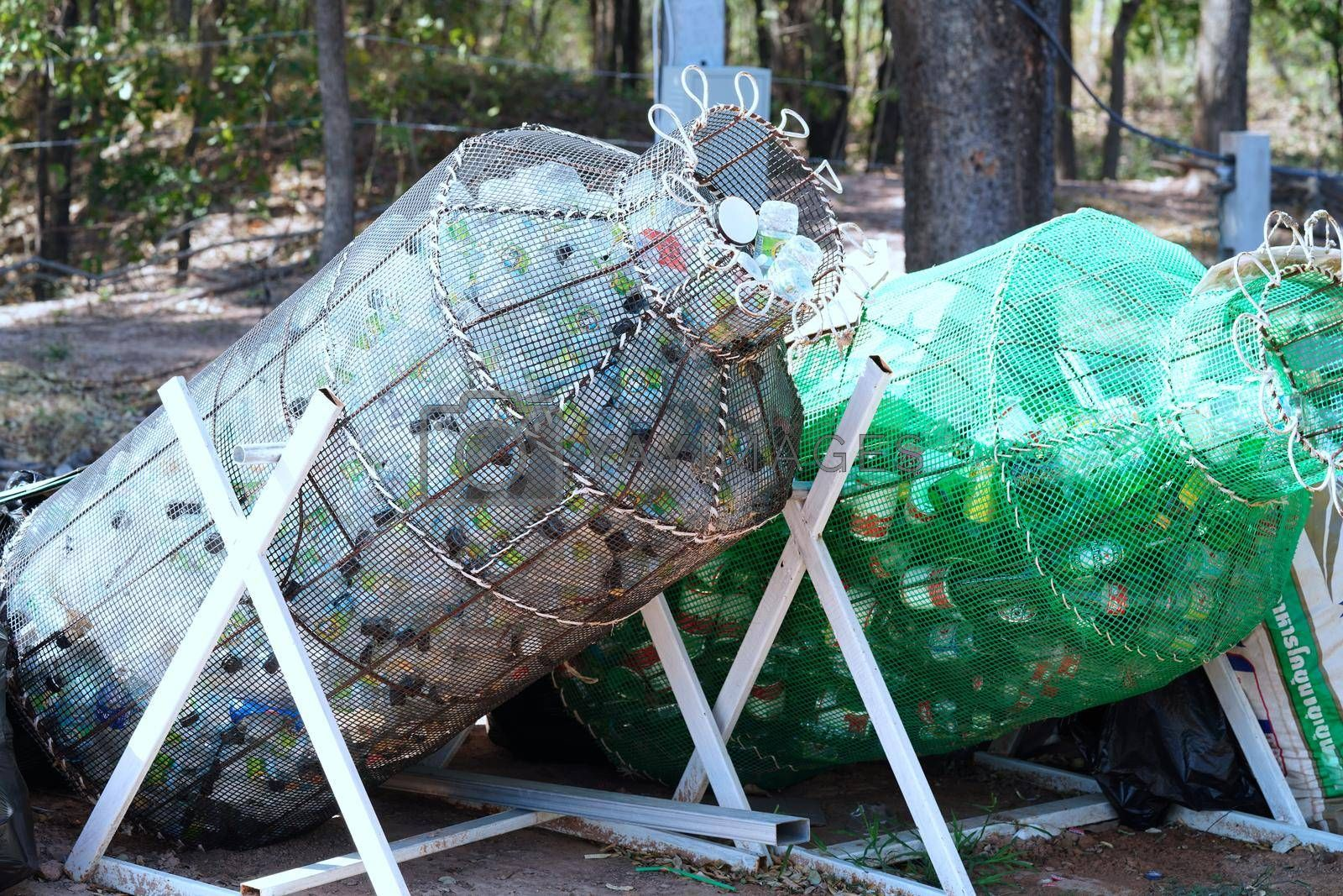 Garbage collection in Thailand for recycling And recycling, energy and environment conservation concept.