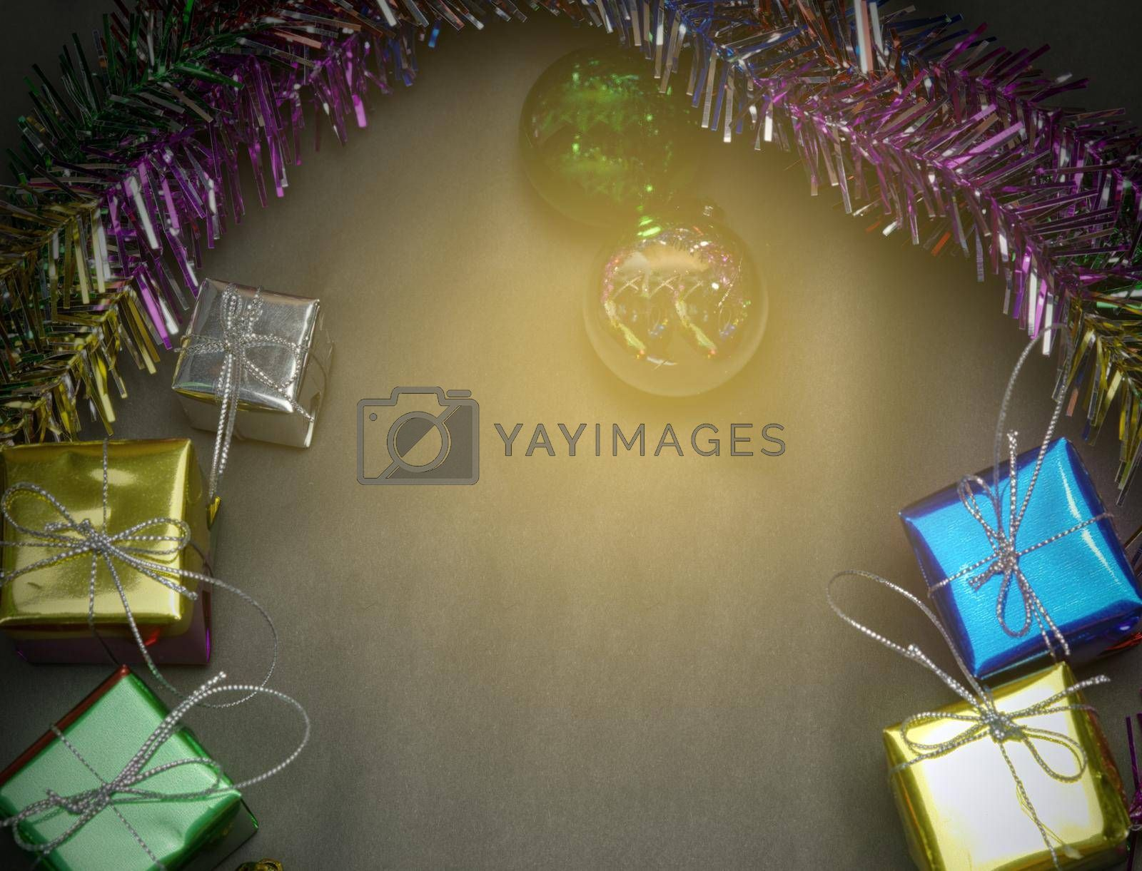 Luxury new year background with shining gift box black background.