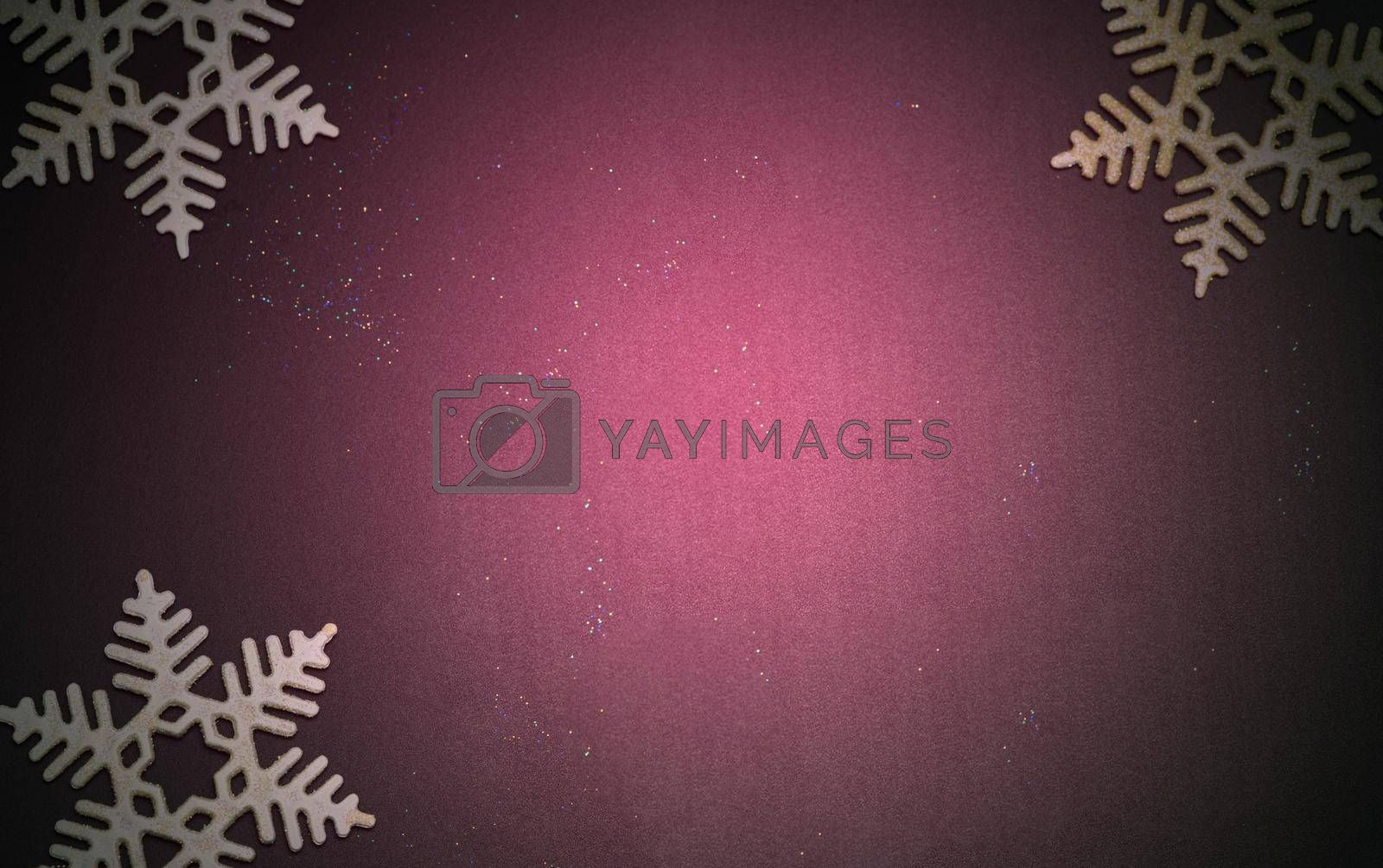 Luxury Christmas background with golden snowflakes shining black wood texture background. by noppha80