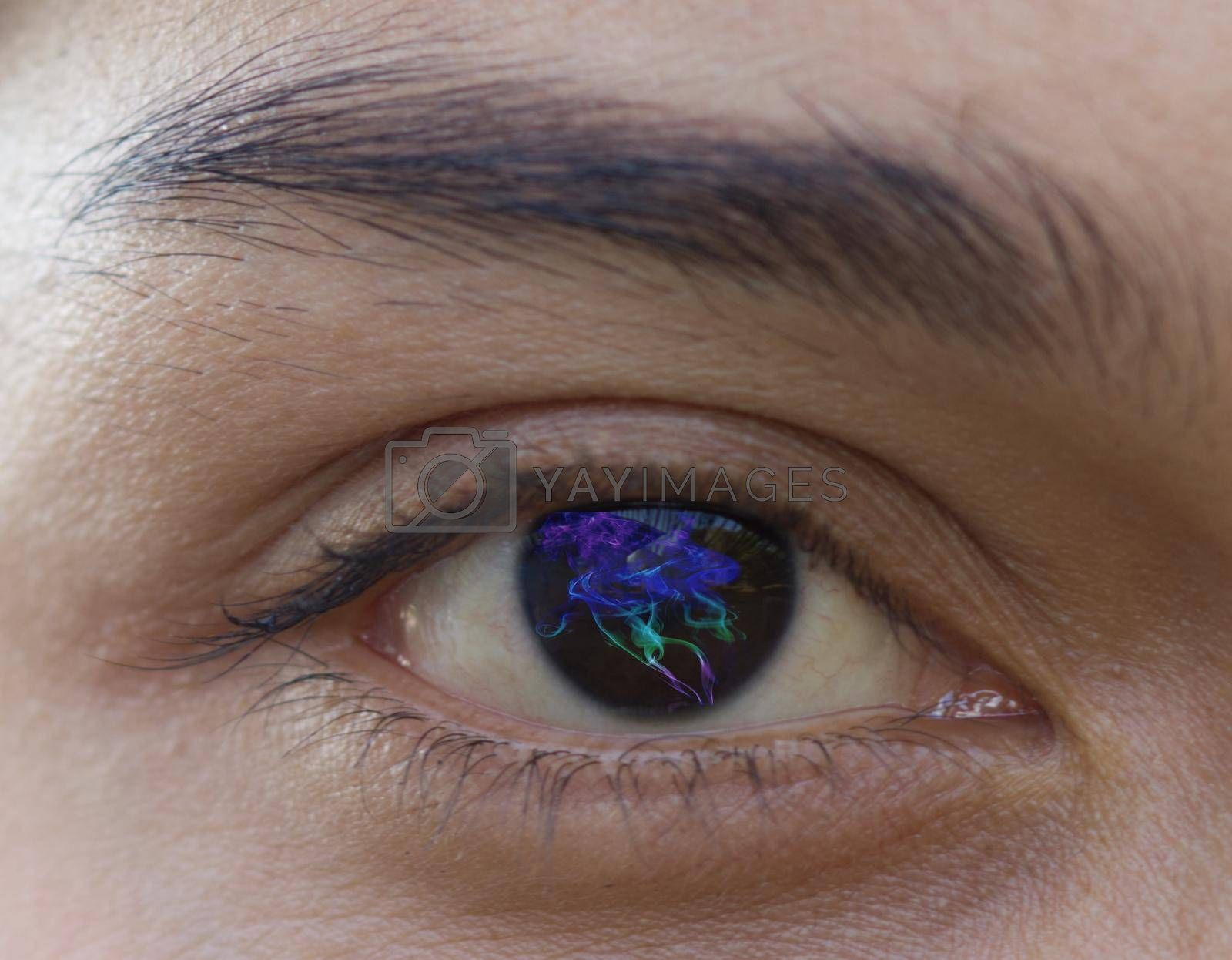 Close-up of one eye, a young Asian woman wearing Contact Fashion style Lens with beautiful eyebrows, iris treatment concept, with veins, selective focus.