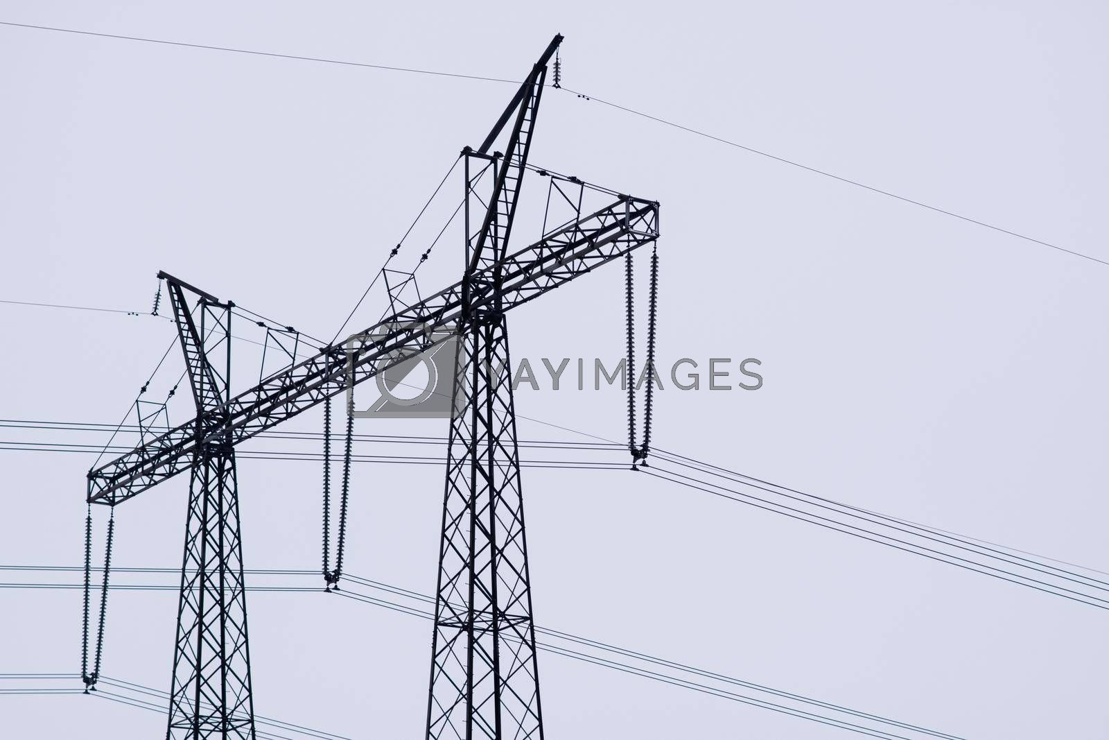 High-voltage power transmission towers. High quality photo