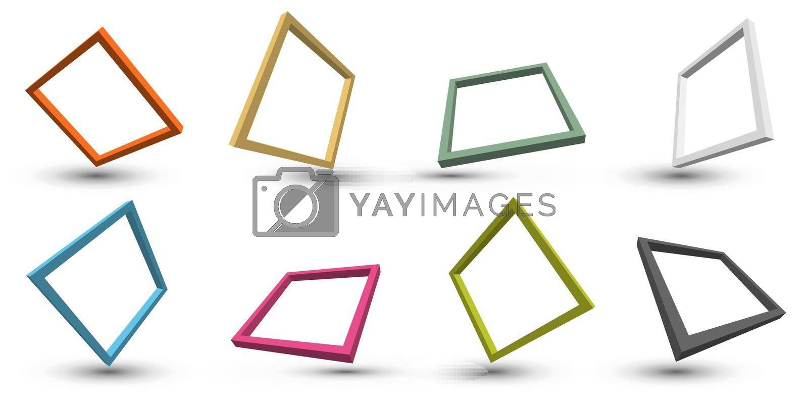 Set of 3D distort perspective square frame border with shadow isolated on white background. Vector illustration