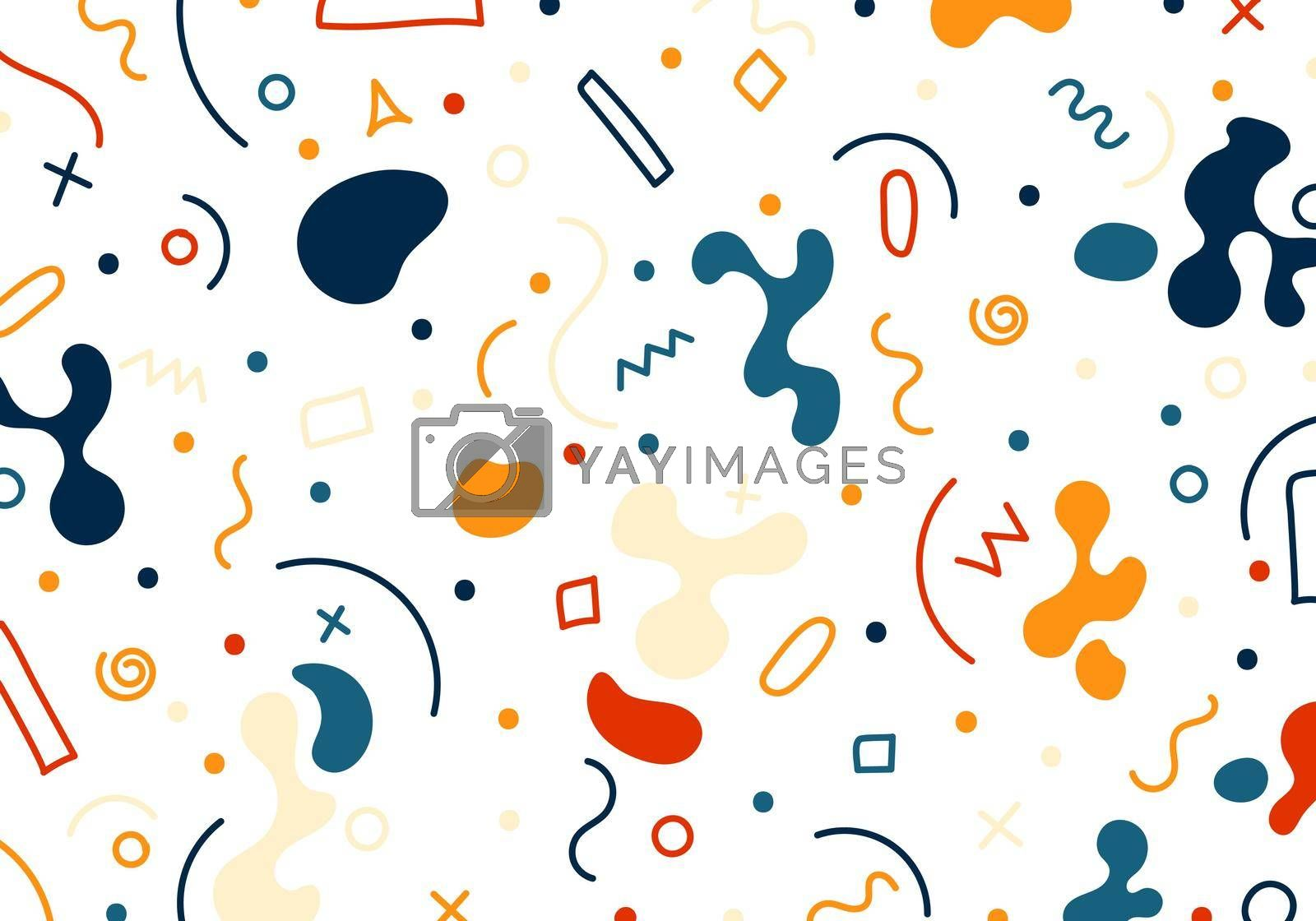 Hand drawn abstract organic shapes, geometric, lines pattern on white background. Vector illustration
