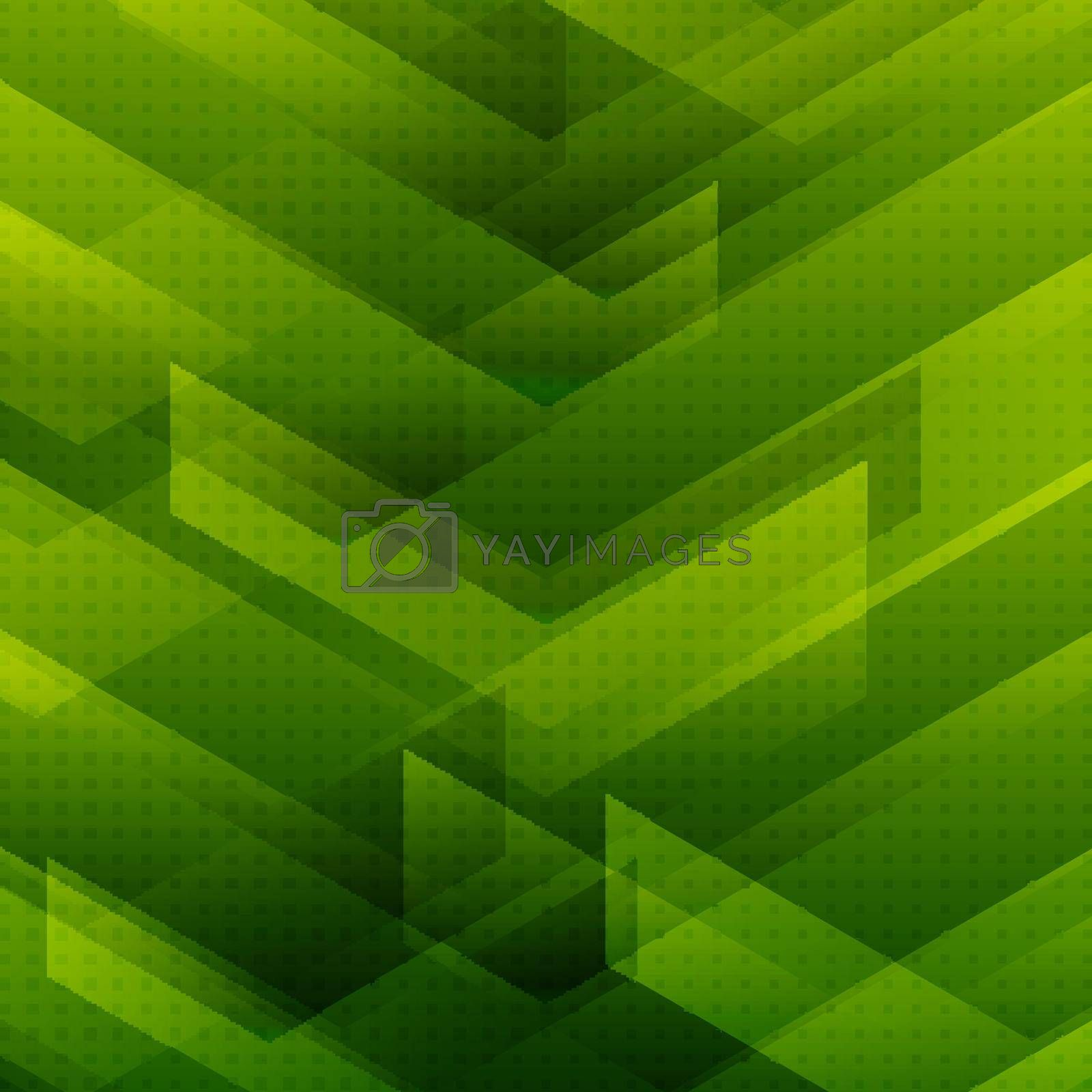 Abstract green tech background with big arrows sign digital and stripes technology concept. Space for your text. Vector illustration