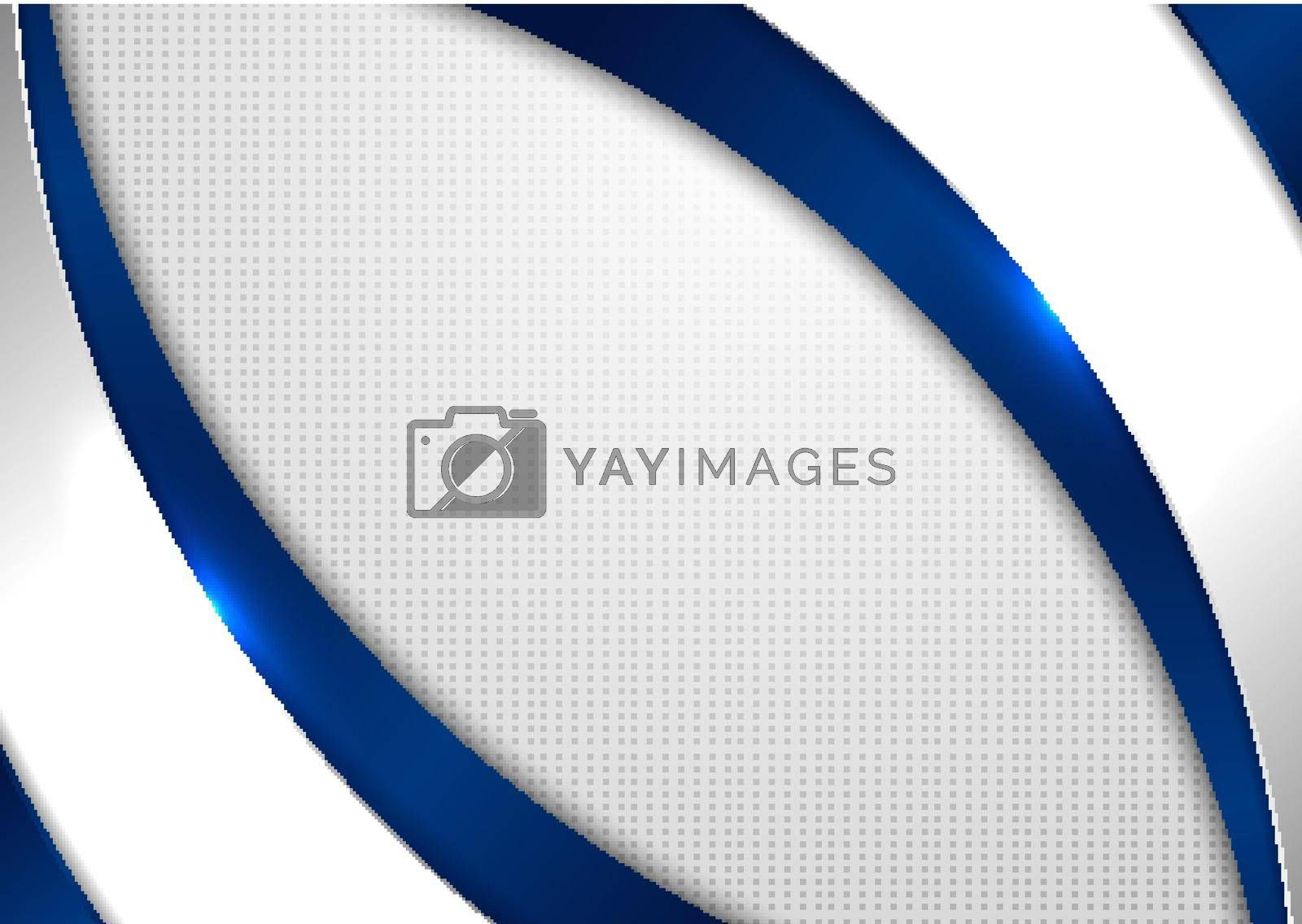 Abstract template blue and gray curve shape on white background with square pattern. Technology concept. Vector illustration