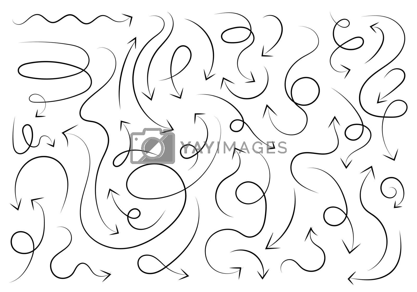 Set of hand drawn black brush arrows isolated on white background. Vector illustration
