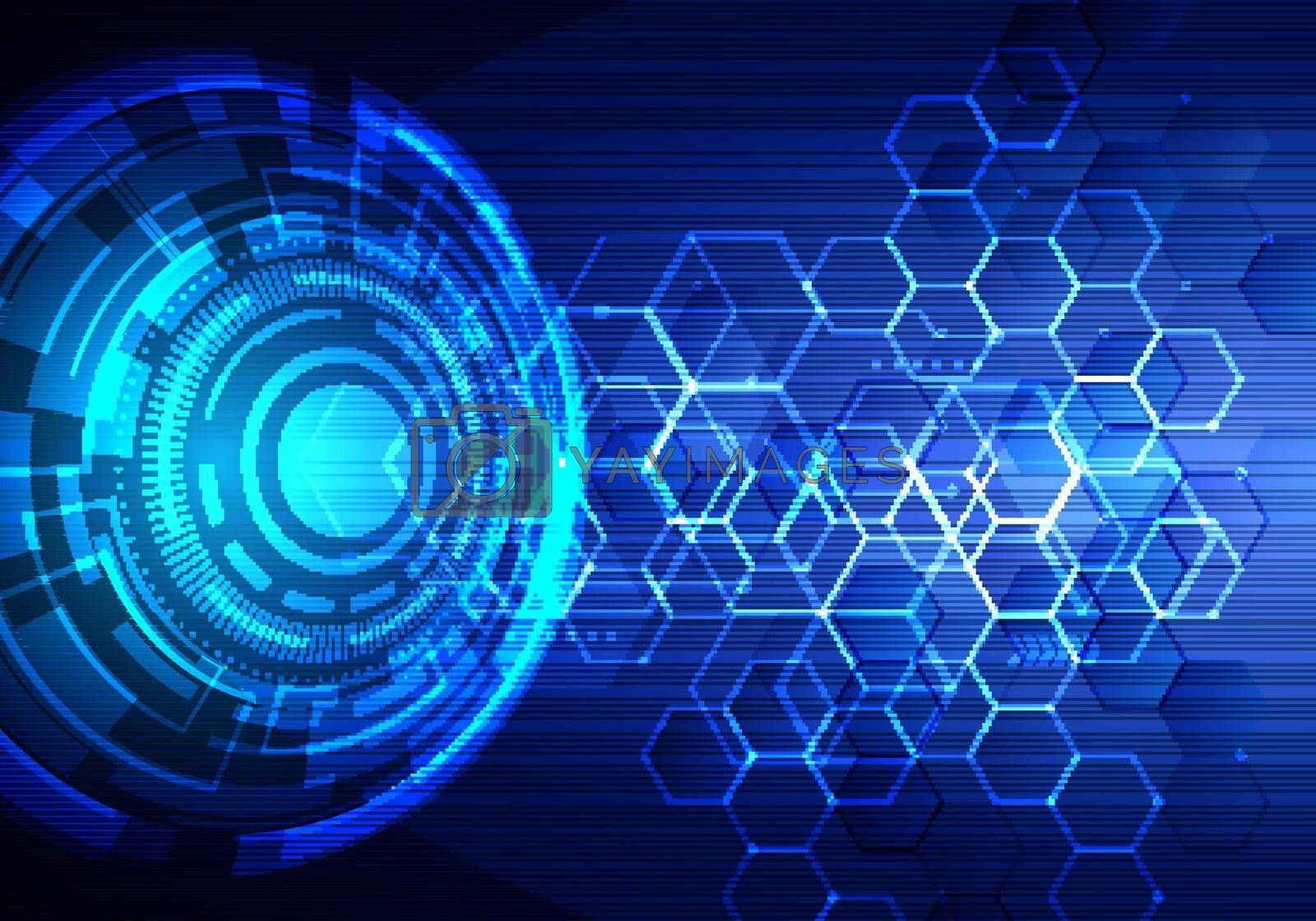Abstract technology futuristic transfer digital data network to center concept. Blue circle internet tech background. Vector illustration
