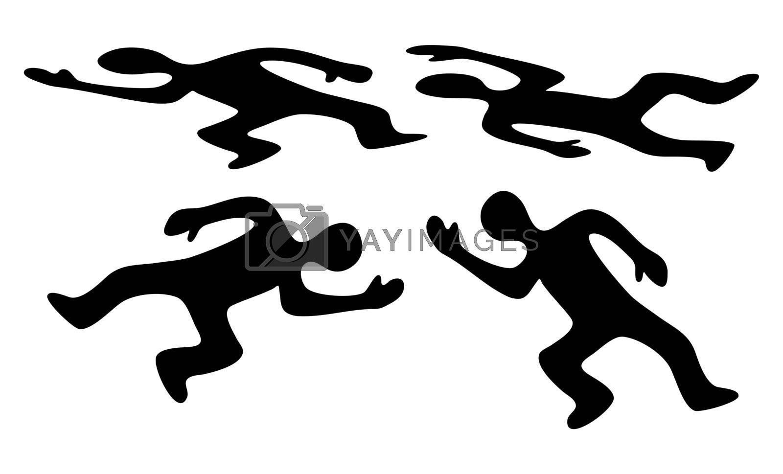 Victim body icon set. Black silhouette of dead man. Vector symbol of corpse isolated on white background.