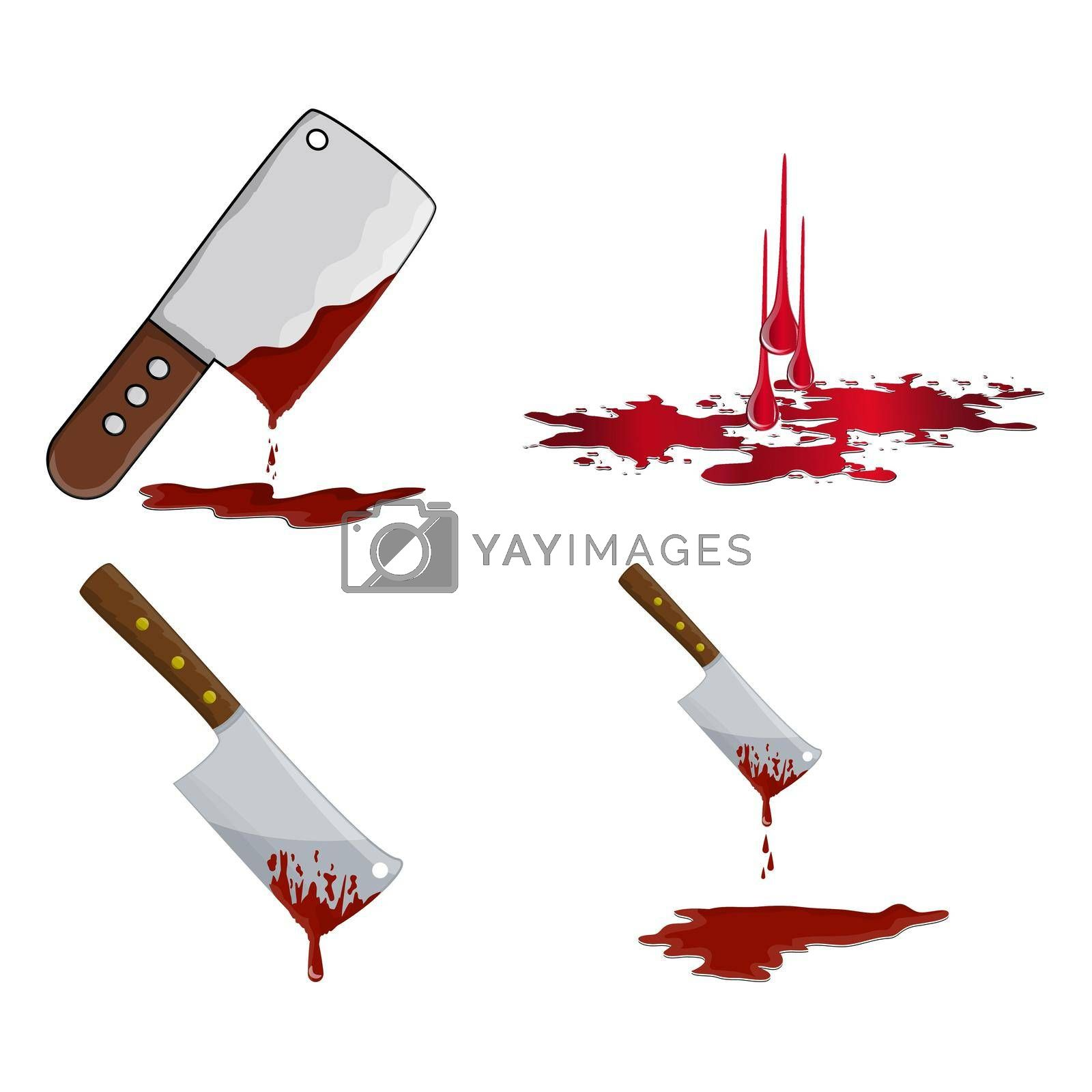 Cleaver with blood icon set. Bloody butcher knife using to cut meat. Vector Illustration isolated on white background.