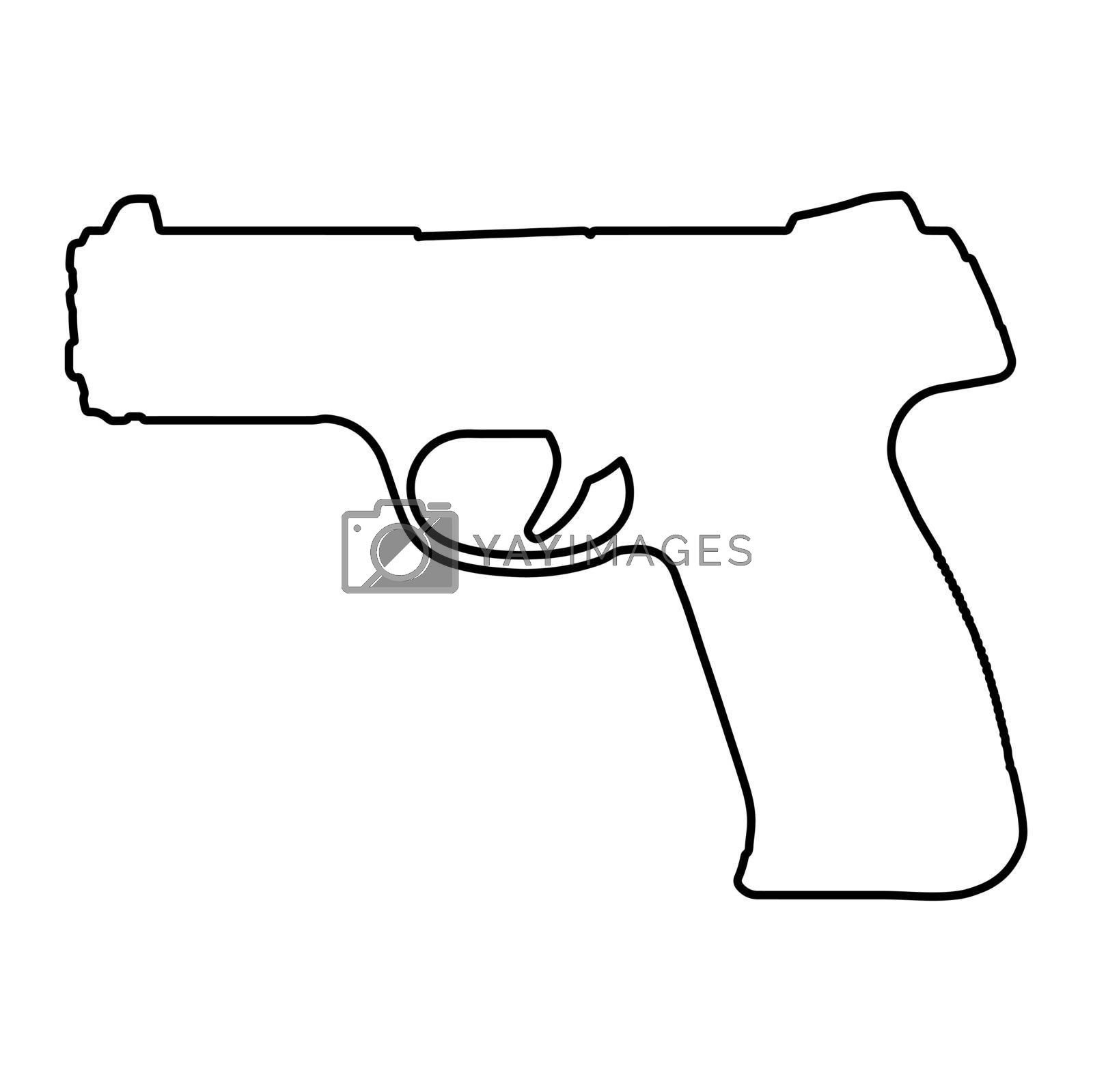 Pistol outline illustration. Handgun contour isolated on white. Vector illustration.