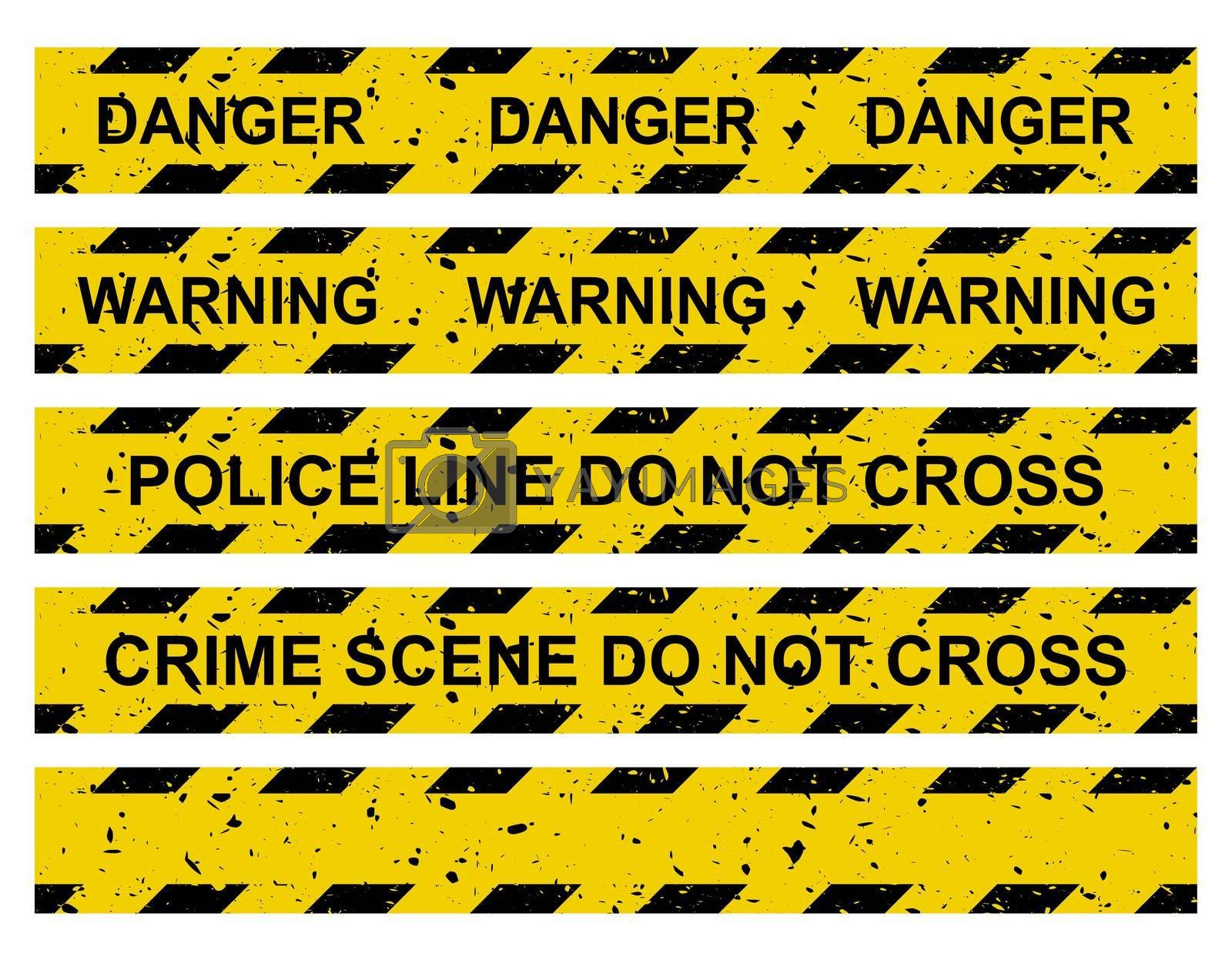 Caution tape set. Yellow warning ribbon collection with different texts:  do not cross police line, crime scene, danger, warning and blank. Vector criminal border isolated on white.