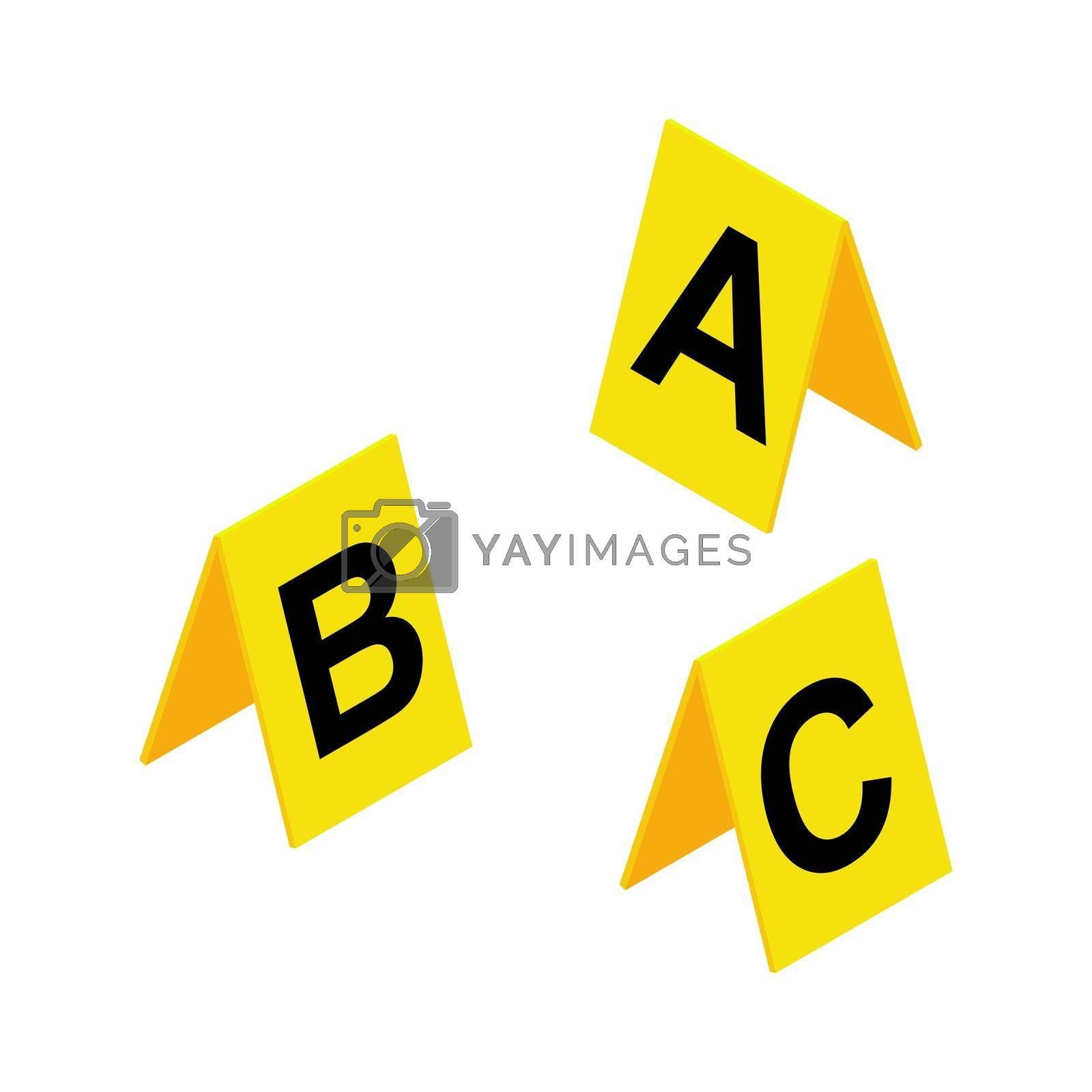 Crime scene markers symbol. Plastic yellow  investigation label design set with letter A, B, C. Criminalistic vector illustration isolated on white background.