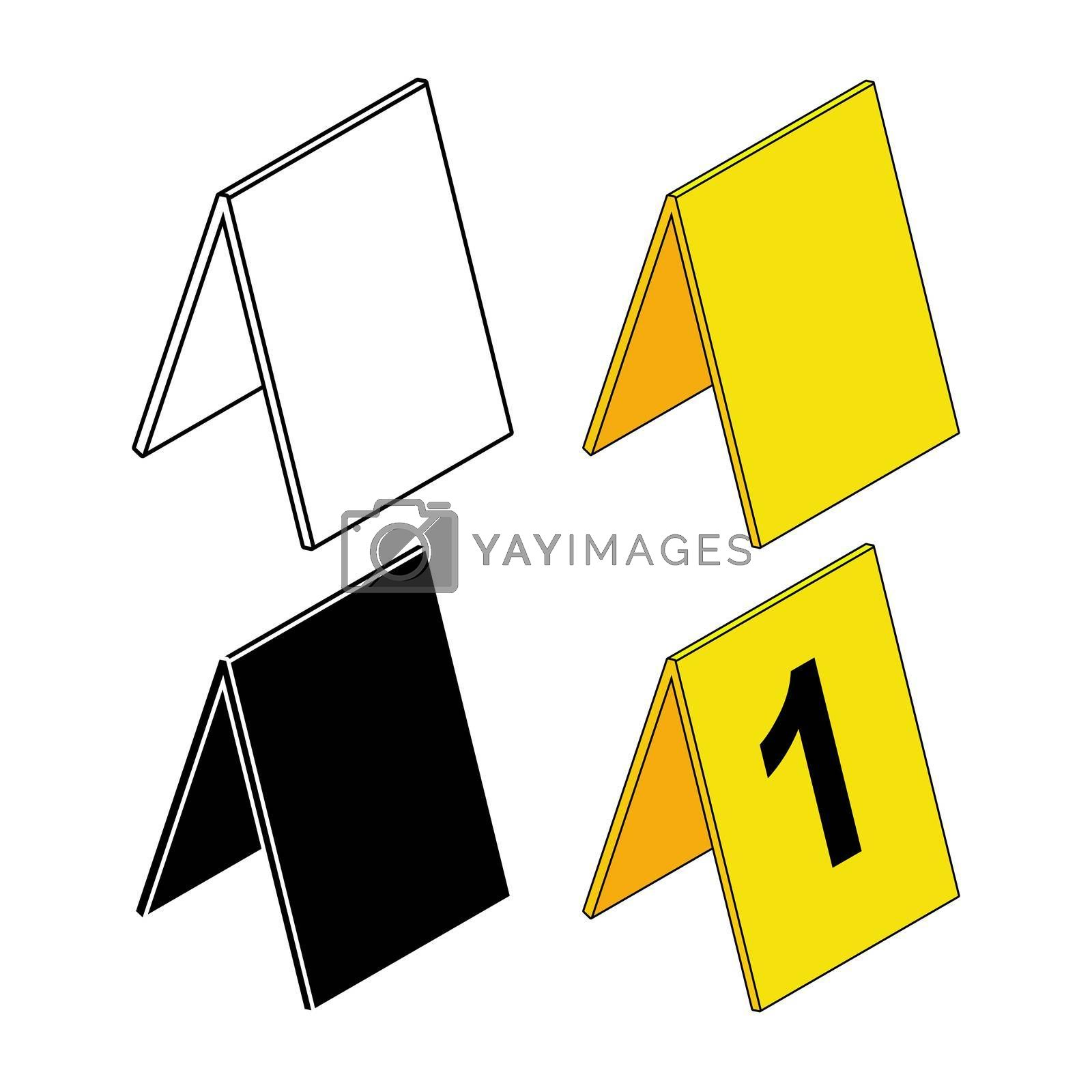 Crime scene markers set. Criminalistics label icon collection. Empty or blank outline and silhouette symbol. Vector illustration isolated on white background.