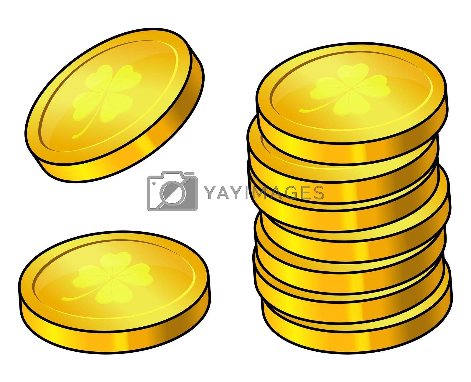 Coin with clover icon. Gold money set with 4 leaf shamrock. Great for st patrick celebration design. Vector cartoon illustration isolated on white background.