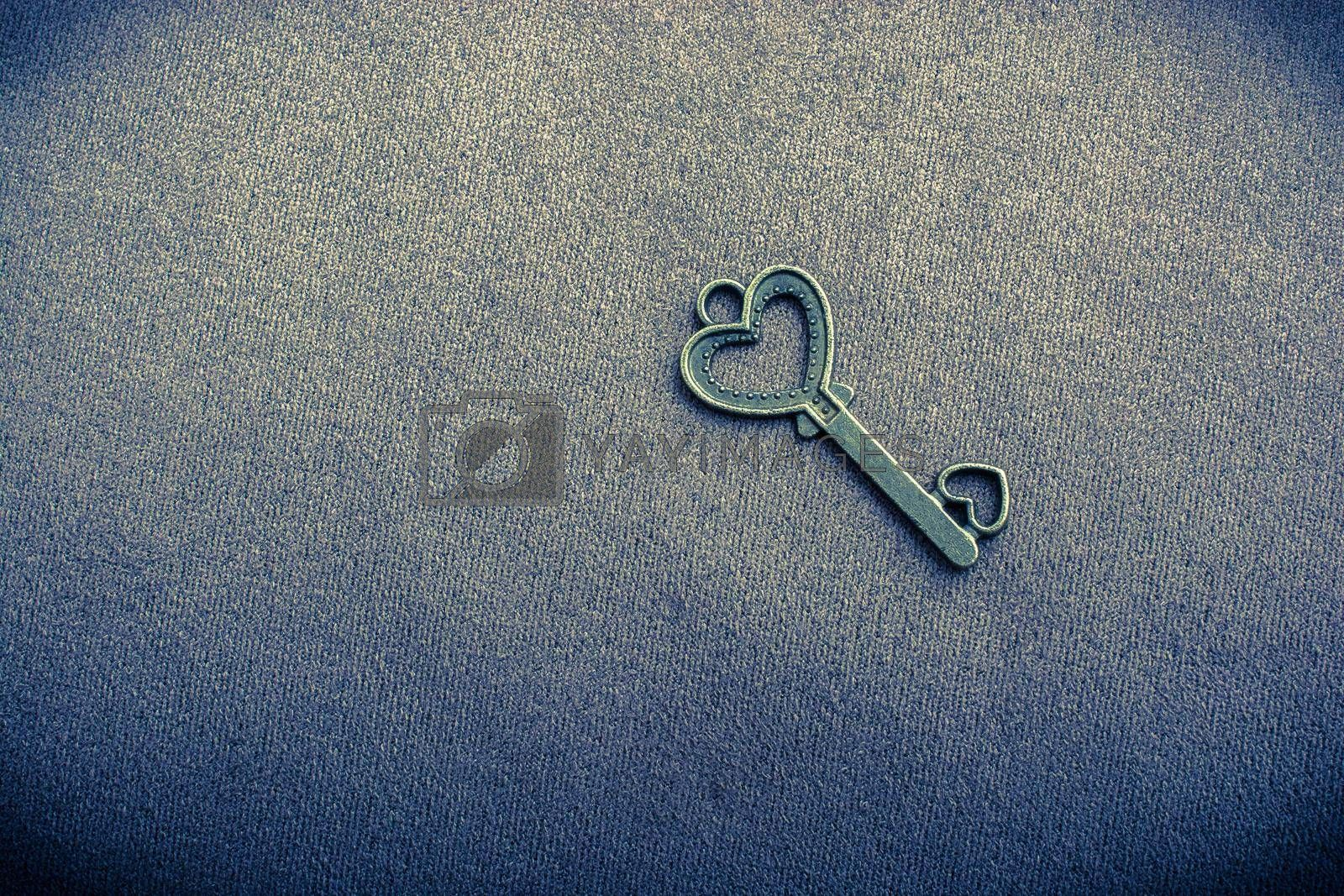 Heart shaped retro metal key on plain background