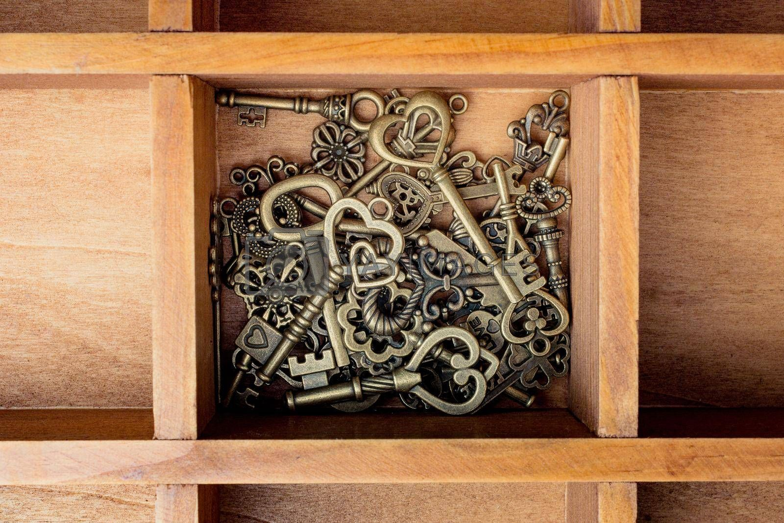 Retro style metal keys in a wooden box