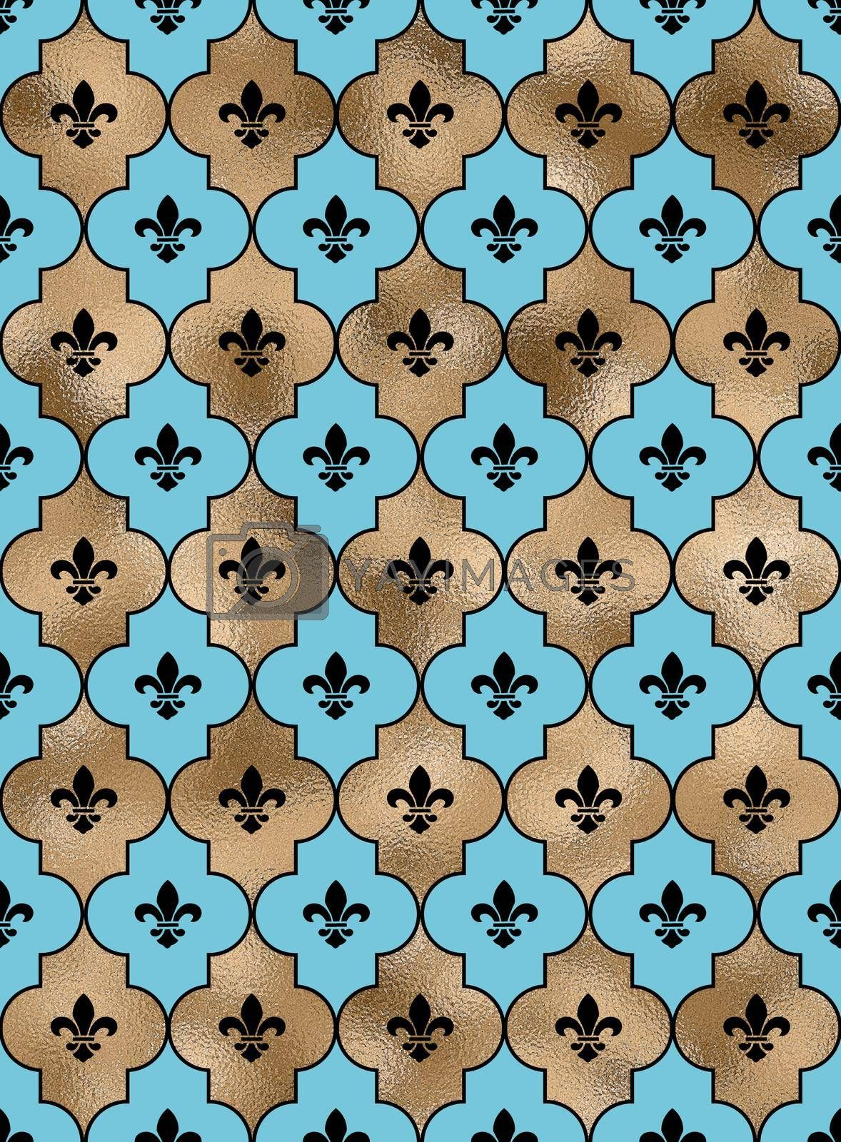 Seamless background with lily fleur de Lis. Turquoise blue gold pattern with heraldic symbol fleur-de-lis. Modern abstract pattern. Illustration