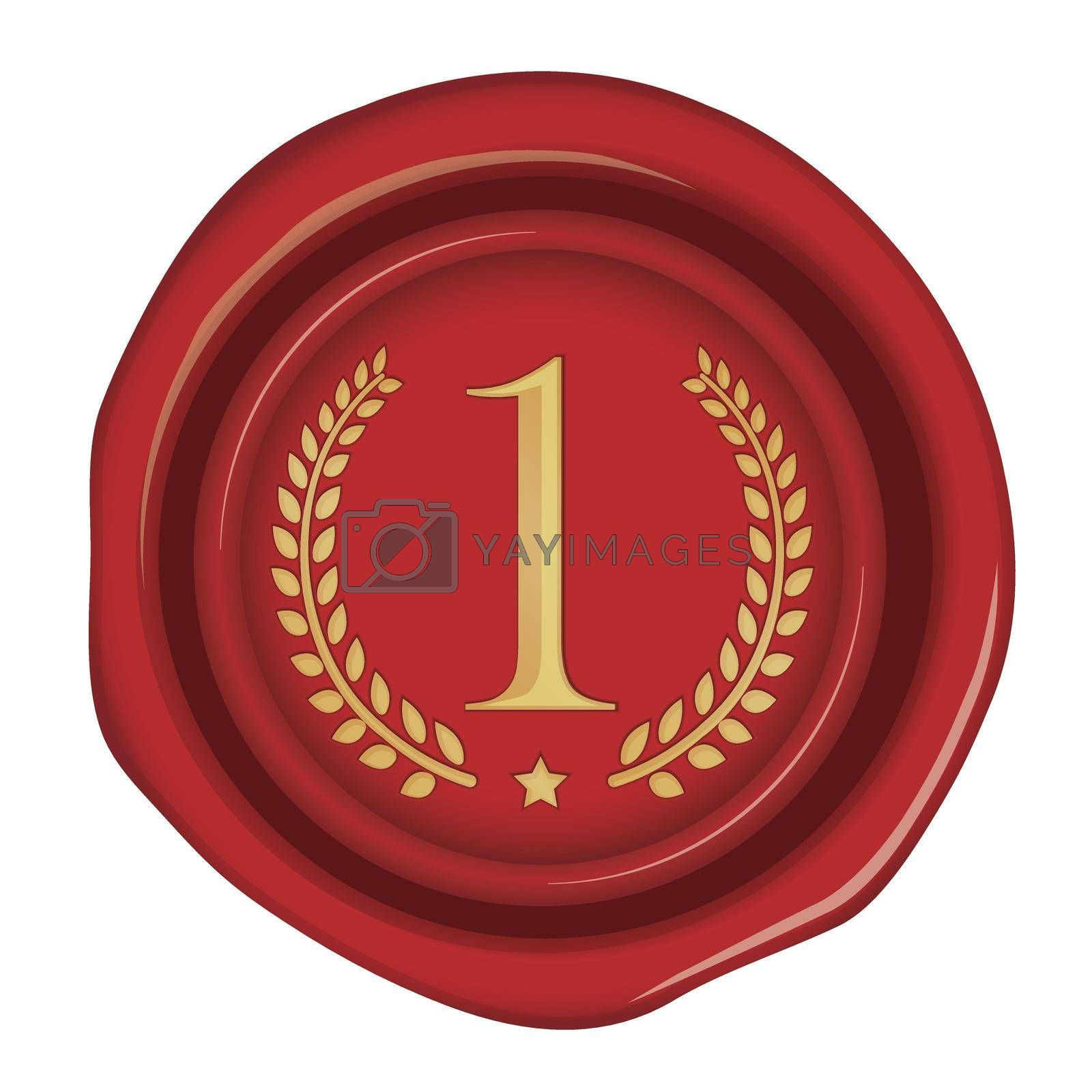 Sealing wax illustration / number, ranking (1st place/gold)