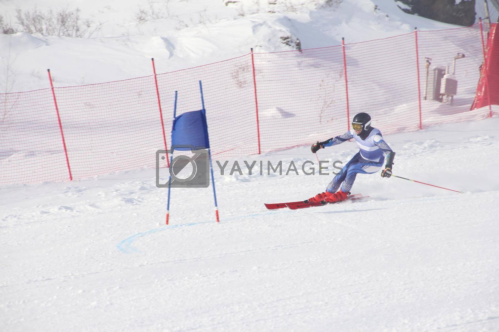 Super G race, alpine skier attack ski gate competition