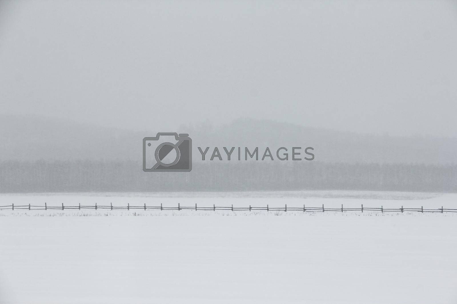 Minimalistic winter landscape with fresh snow, fog and haze among mountains, old fence