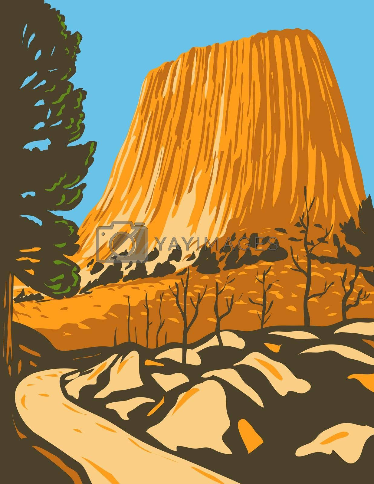 WPA poster art of the Devils Tower National Monument, a butte or laccolithic in Bear Lodge Ranger District of the Black Hills in Wyoming in works project administration or federal art project style.