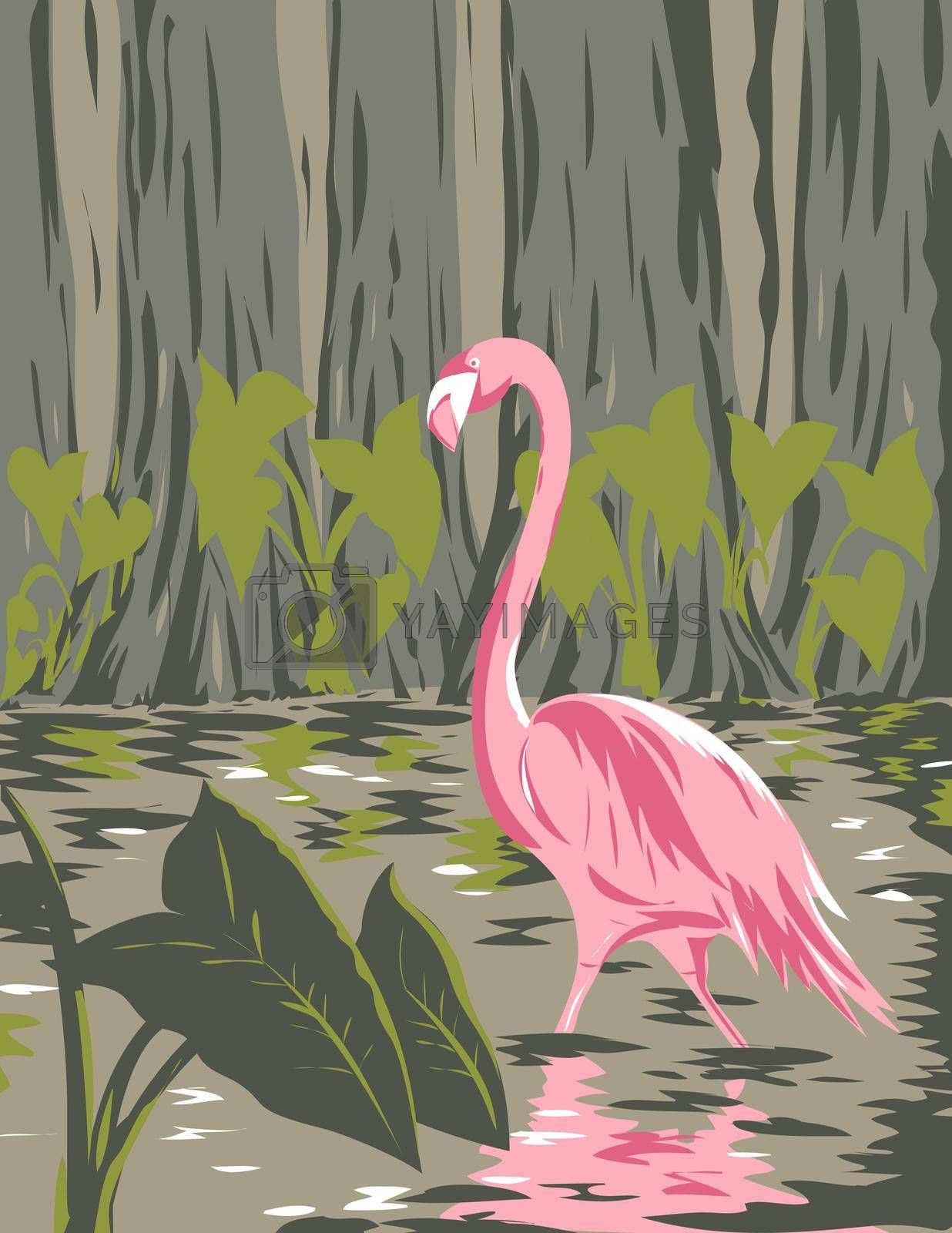 WPA poster art of a flamingo in the wetlands, swamps and marshes of the Everglades National Park in Florida United States in works project administration or federal art project style.