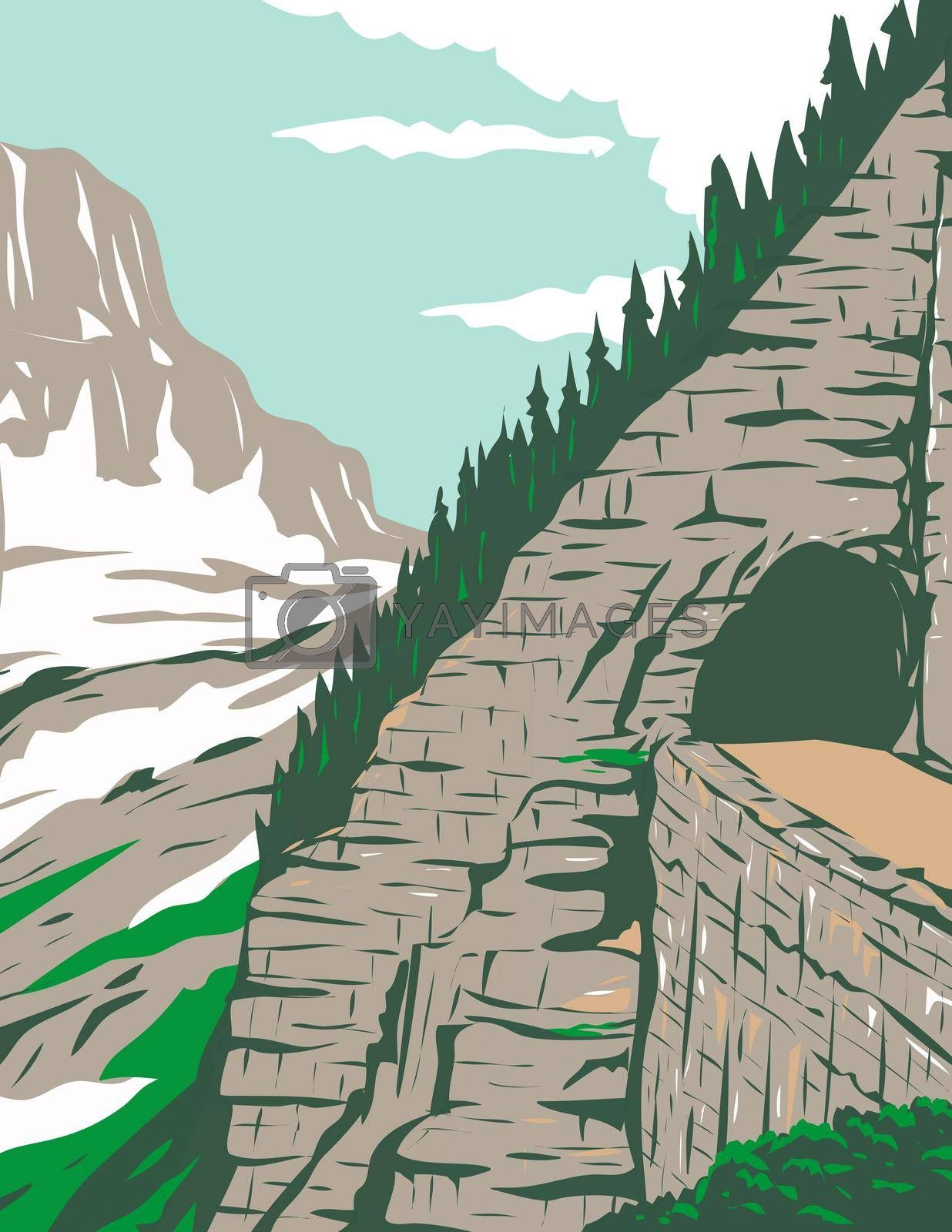 WPA poster art of Going-to-the-Sun Road in Eastside tunnel and Mt. Reynolds, Glacier National Park, Montana, United States in works project administration or federal art project style.