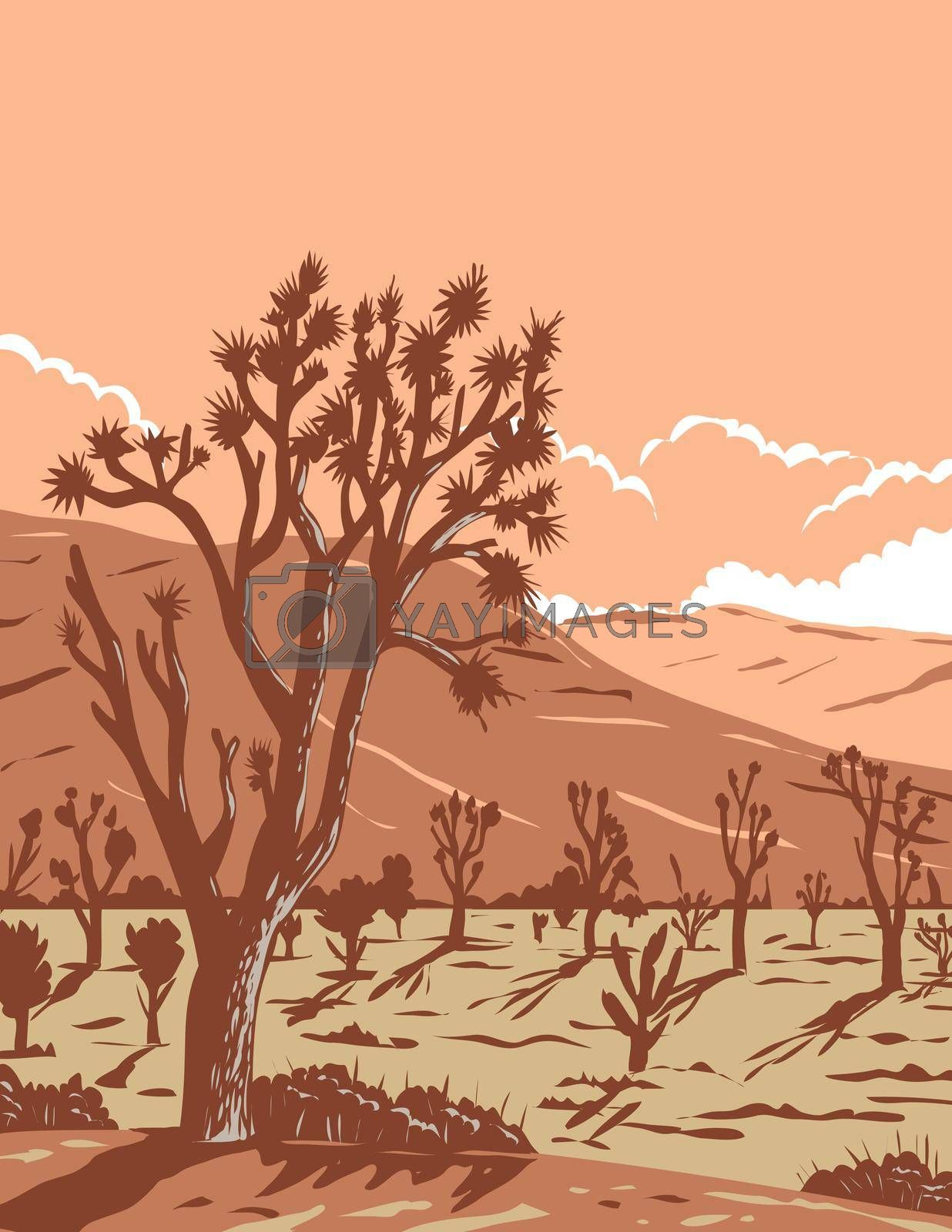 WPA poster art of the Joshua tree in the Mojave Desert, an arid rain-shadow desert within southeastern California and southern Nevada in works project administration or federal art project style.