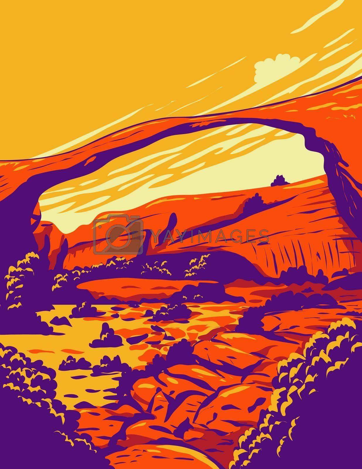 WPA poster art of the Landscape Arch, the longest of the many natural rock arches located in Arches National Park, Utah United States done in works project administration or federal art project style.