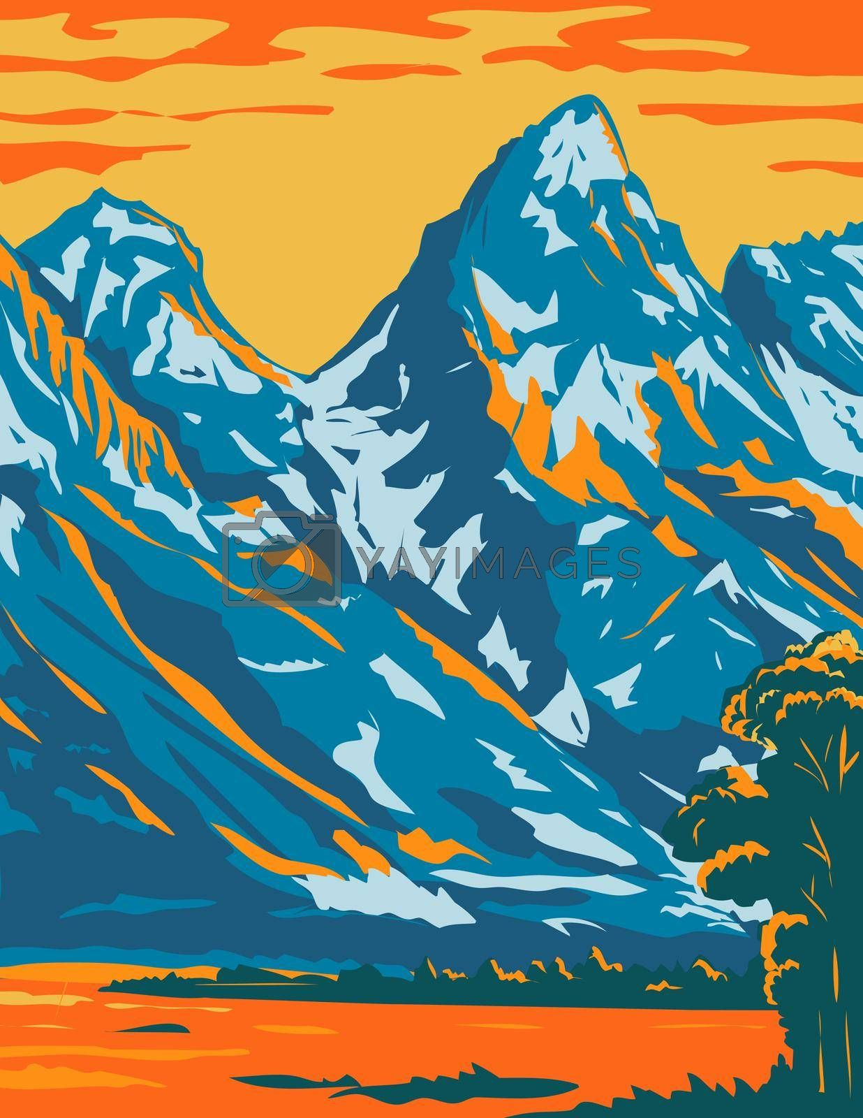 WPA poster art of the spectacular snowcapped peaks of Grand Teton National Park located in Wyoming United States of America done in works project administration or federal art project style.