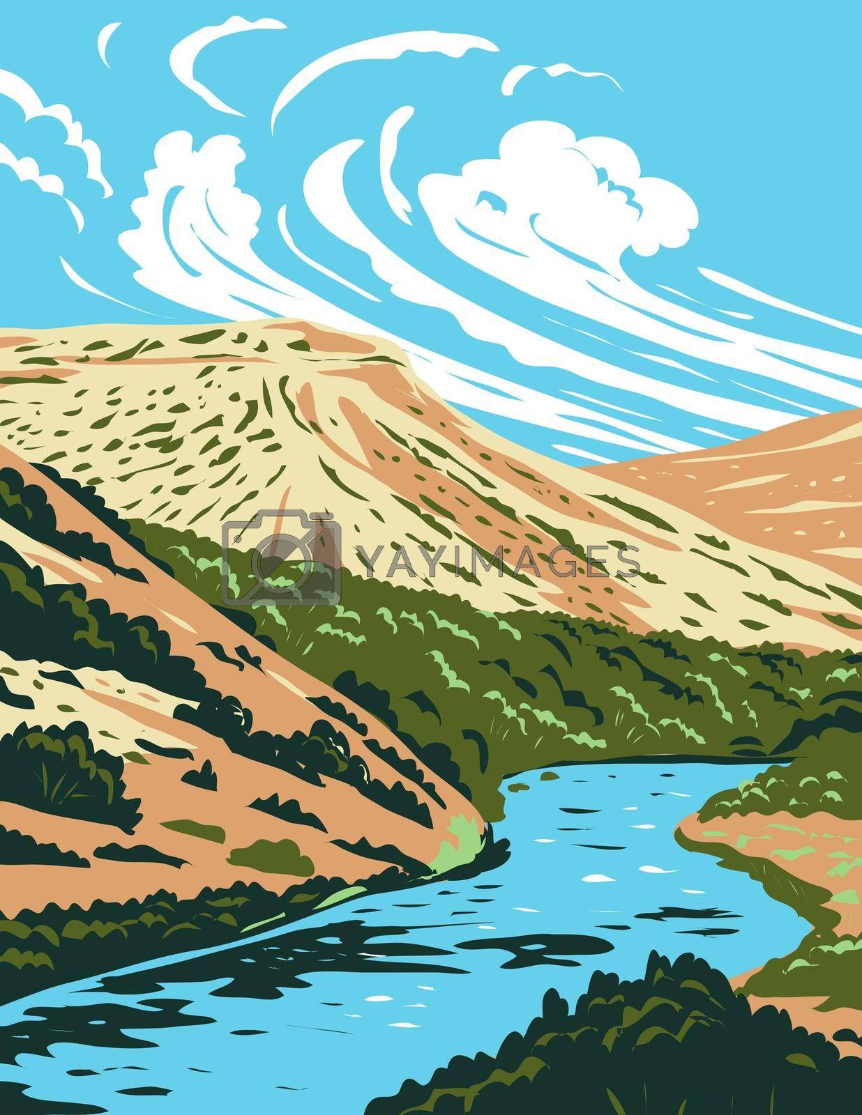 WPA poster art of the Rio Grande, a principal river in the United States and Mexico that begins in Colorado and flows to Gulf of Mexico in works project administration or federal art project style.