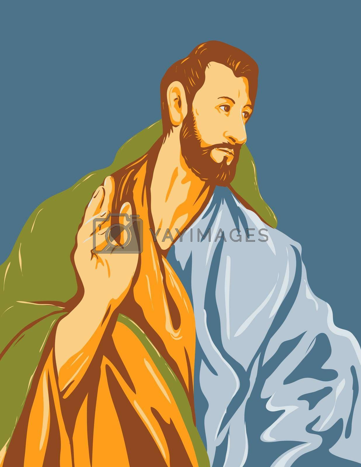 WPA Poster Art Interpretation of the artwork of 16th century Spanish Renaissance artist, El Greco entitled Saint Thomas the Apostle circa 1608 done in Works Project Administration Style.