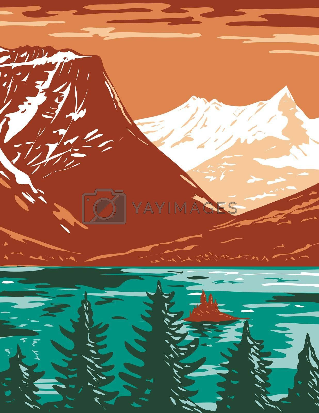 WPA poster art of Saint Mary Lake, the second-largest lake in Glacier National Park located in Montana, United States of America done in works project administration or federal art project style.