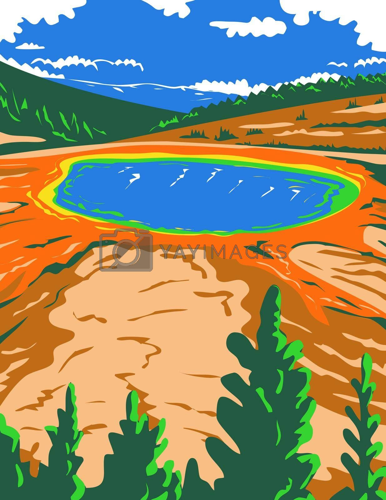 WPA poster art of the Grand Prismatic Spring in Yellowstone National Park in Teton County, Wyoming, United States of America in works project administration or federal art project style.