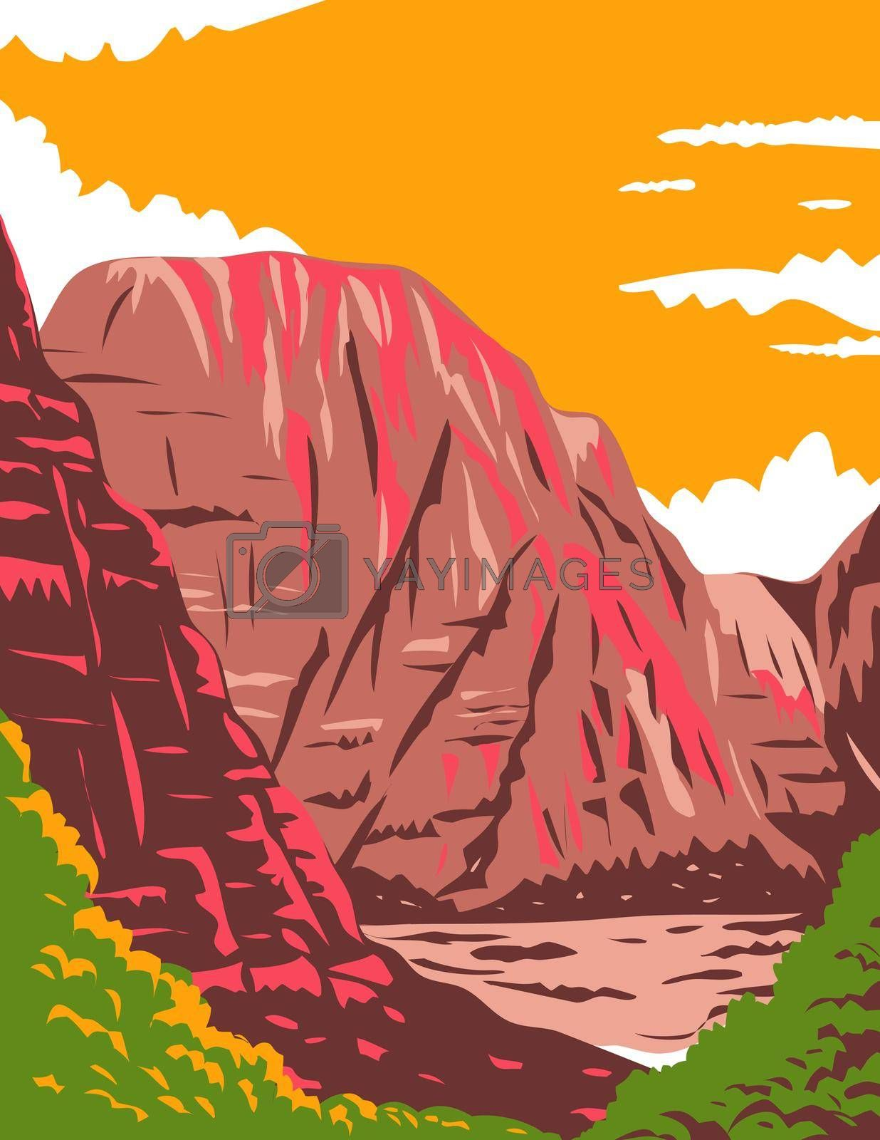 WPA poster art of Zion National Park, a southwest Utah nature preserve distinguished by Zion Canyon's steep red cliffs in United States in works project administration or federal art project style.