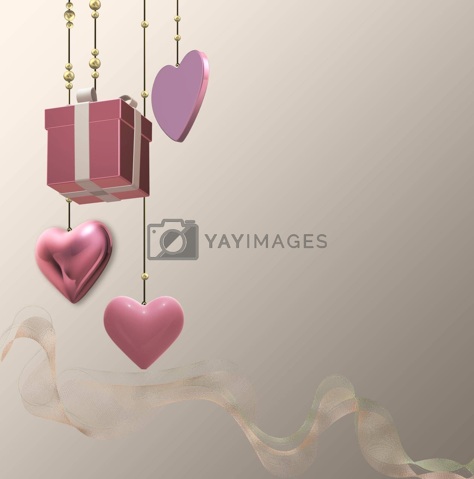 Gift box, pink hearts for romantic love event. Hanging 3D gift present box, pink hearts, gold ribbon over pastel gold. Mothers day, 8th March, spring, Valentines, wedding, birthday. 3D rendering