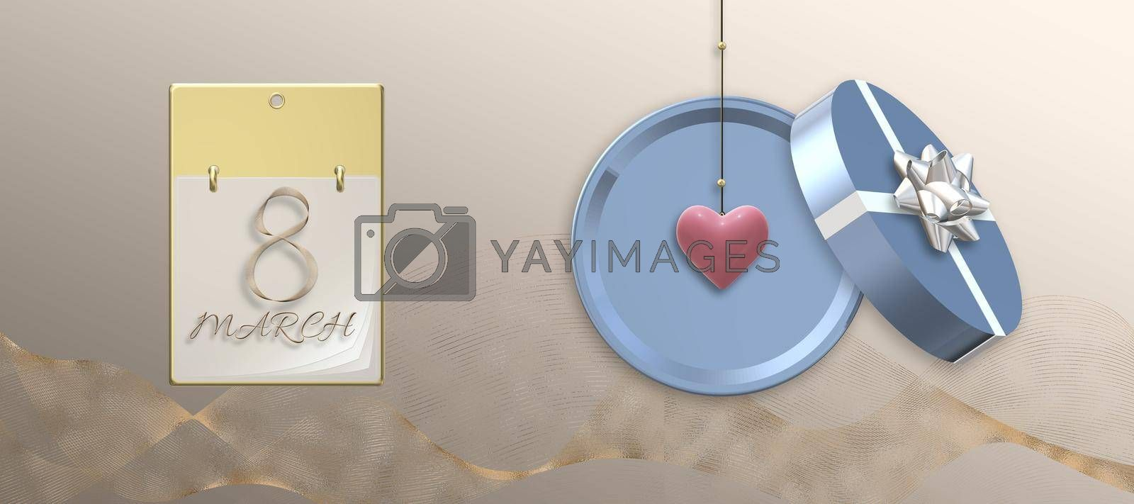 8th of March banner Women's Day elegant beautiful design template. Text 8 March on calendar, round gift box with bow, golden shiny ribbon. Hanging 3D heart, over pastel gold. 3D illustration